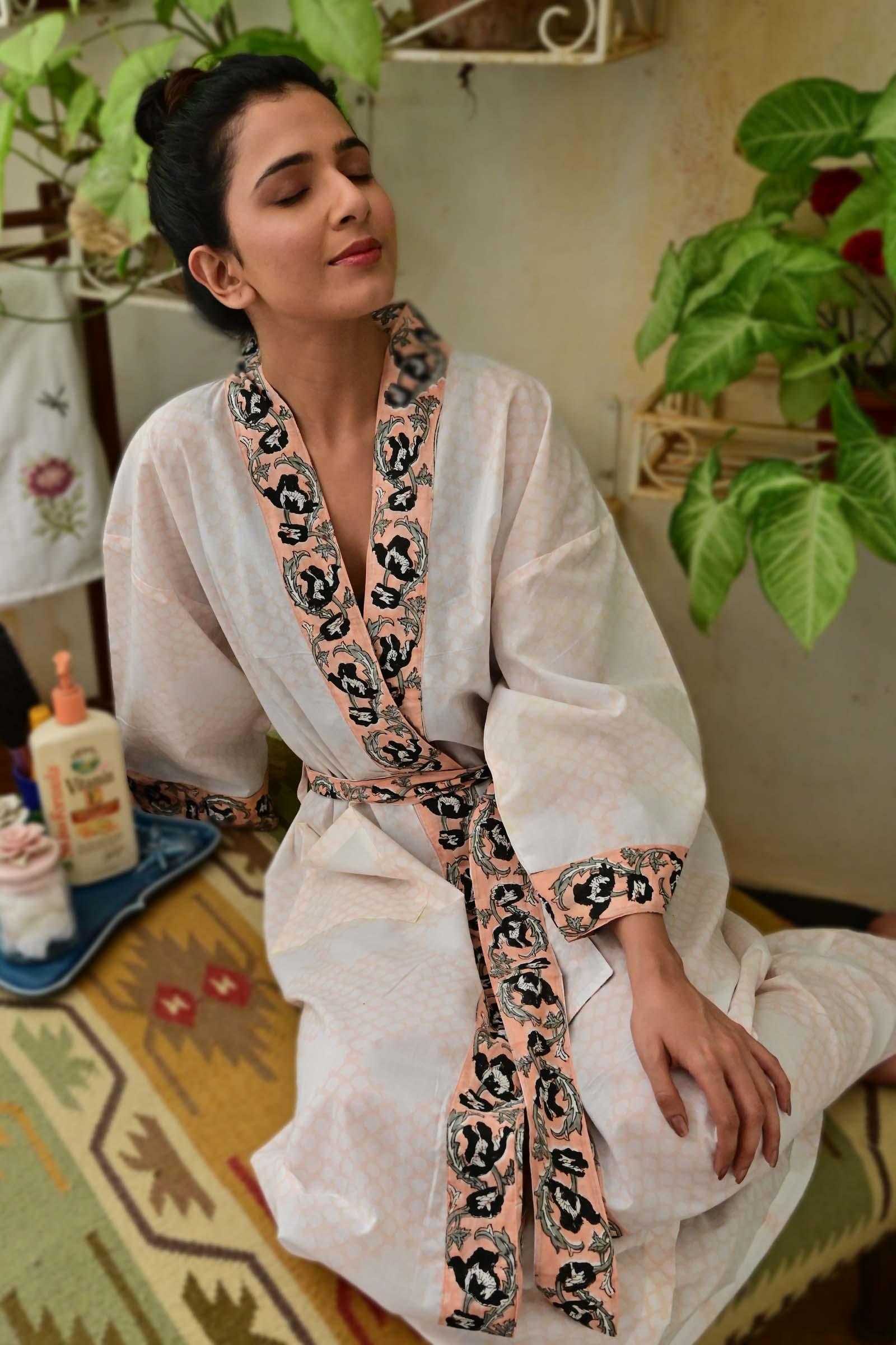 Mughal Jaali Cotton Kimono Long