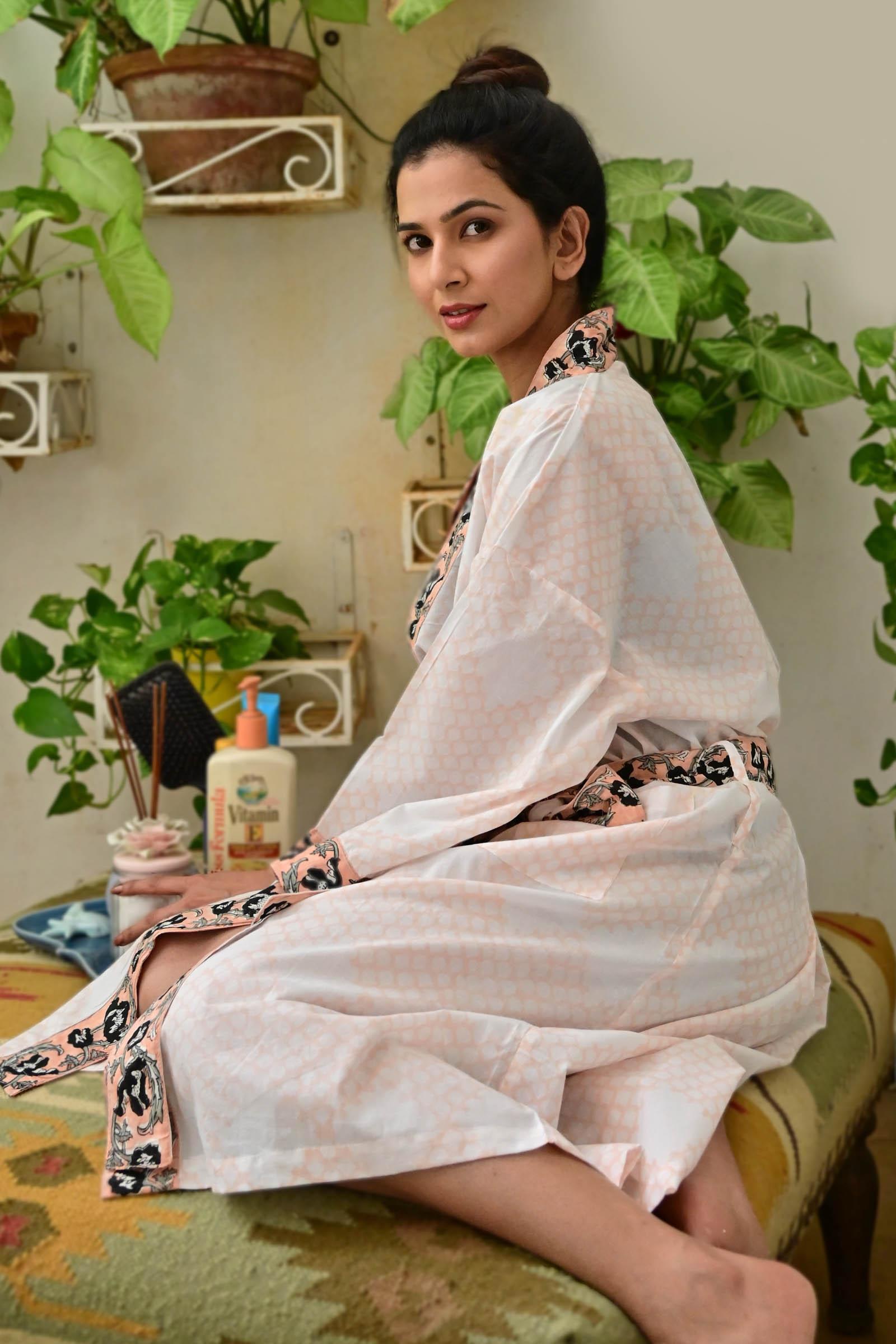 Mughal jaal Cotton Kimono Short