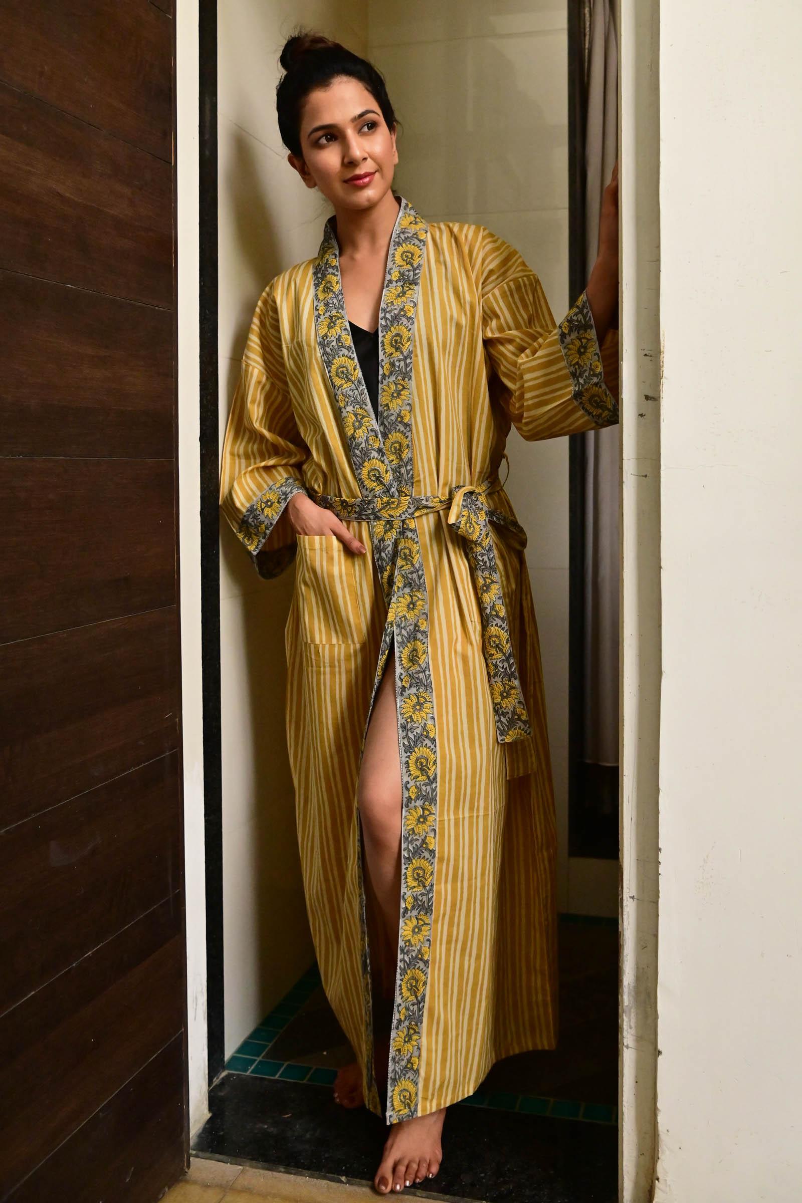 Mustard Stripe Cotton Kimono Long