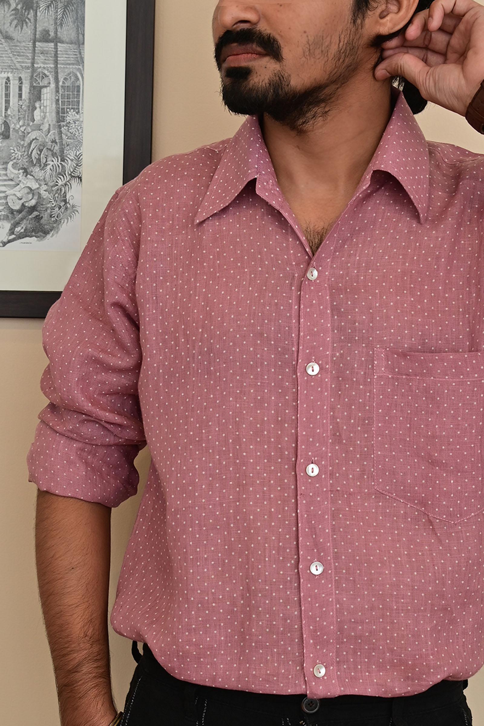 Spot Mauve Linen Shirt