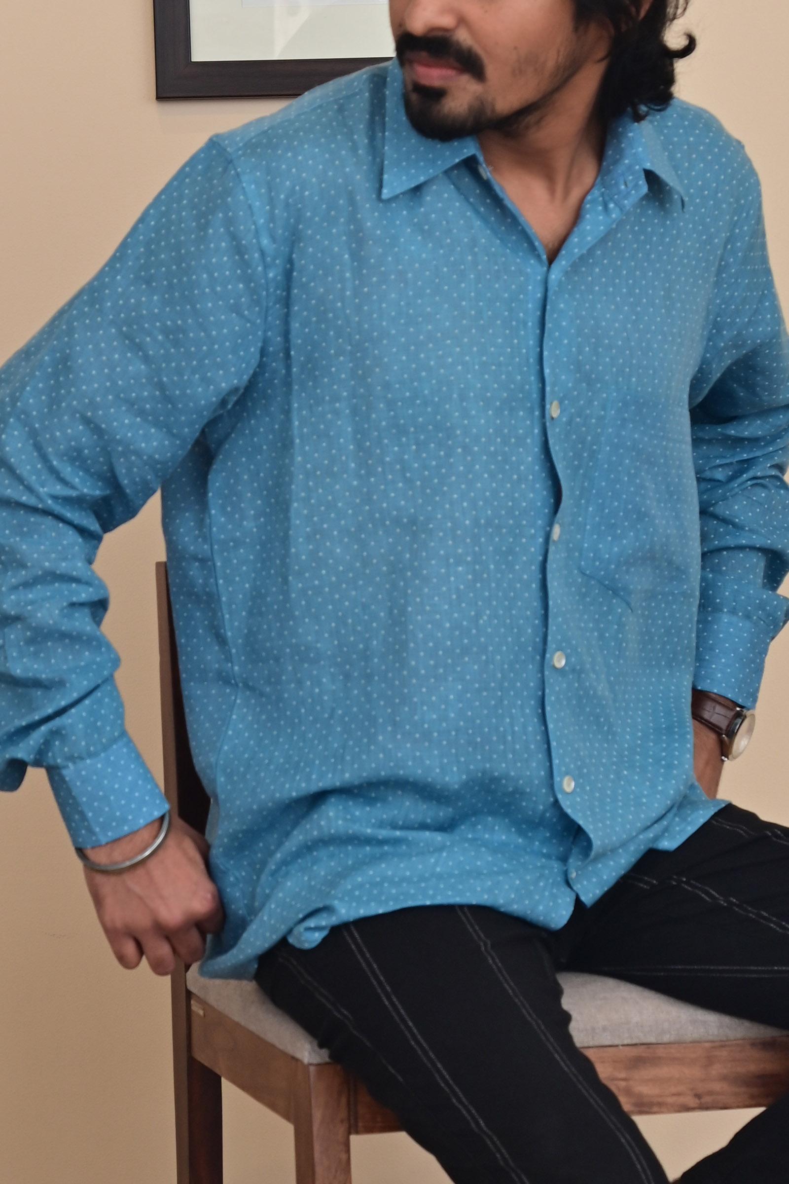 Spot Blue Linen Shirt