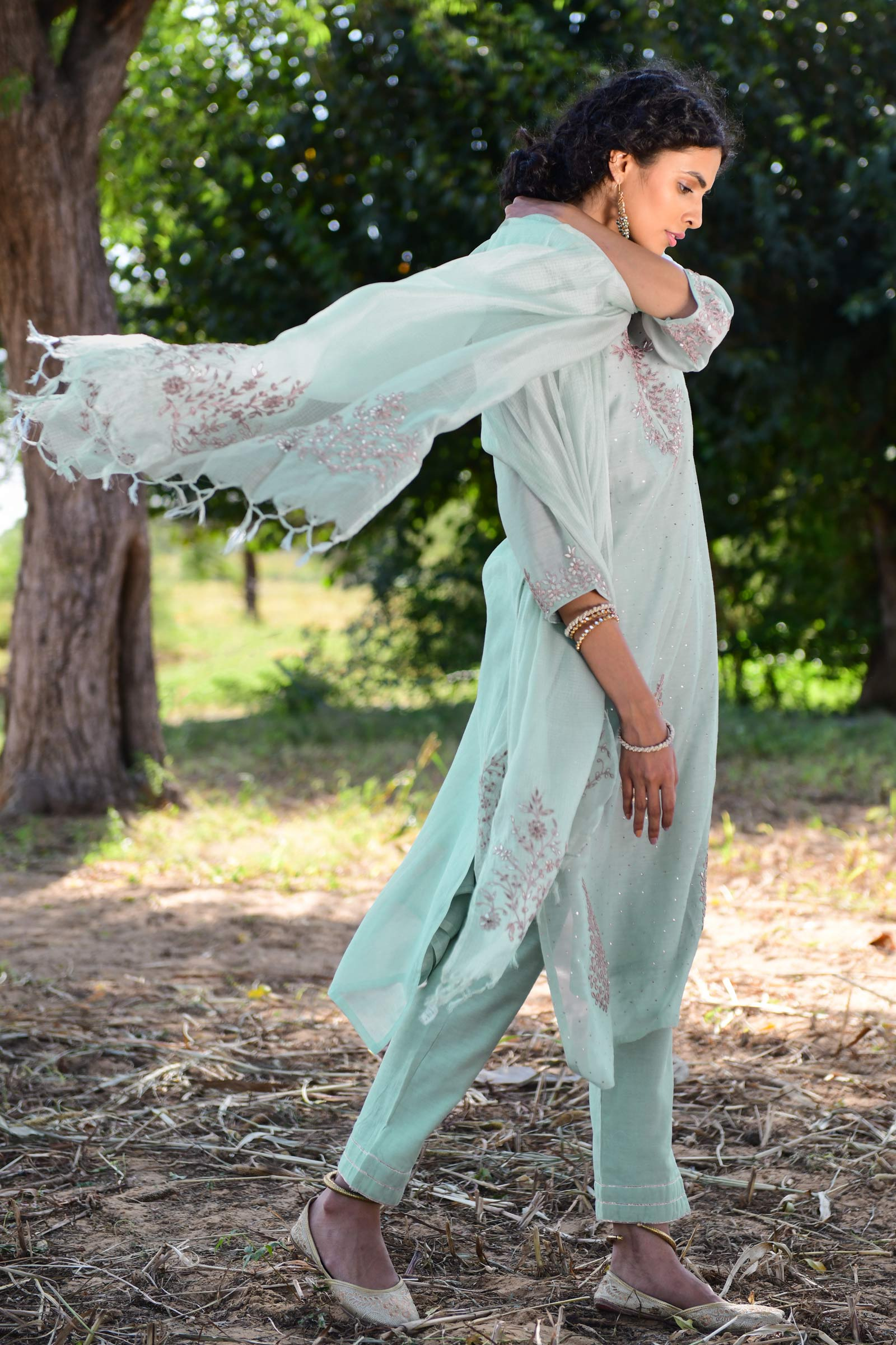 Gota In Mint Dupatta