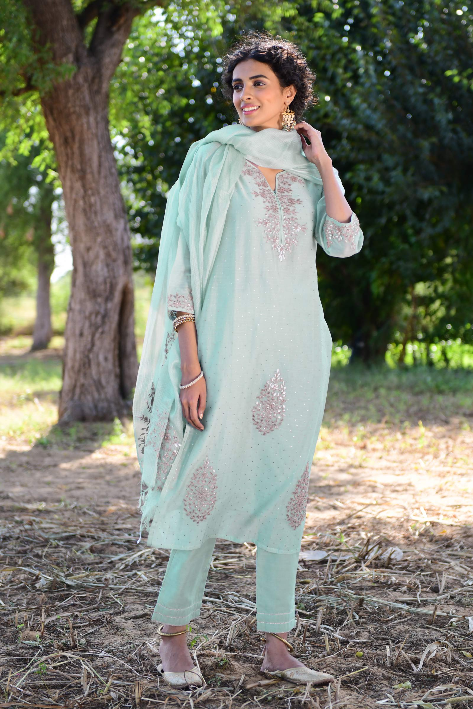 Gota In Mint Kurta
