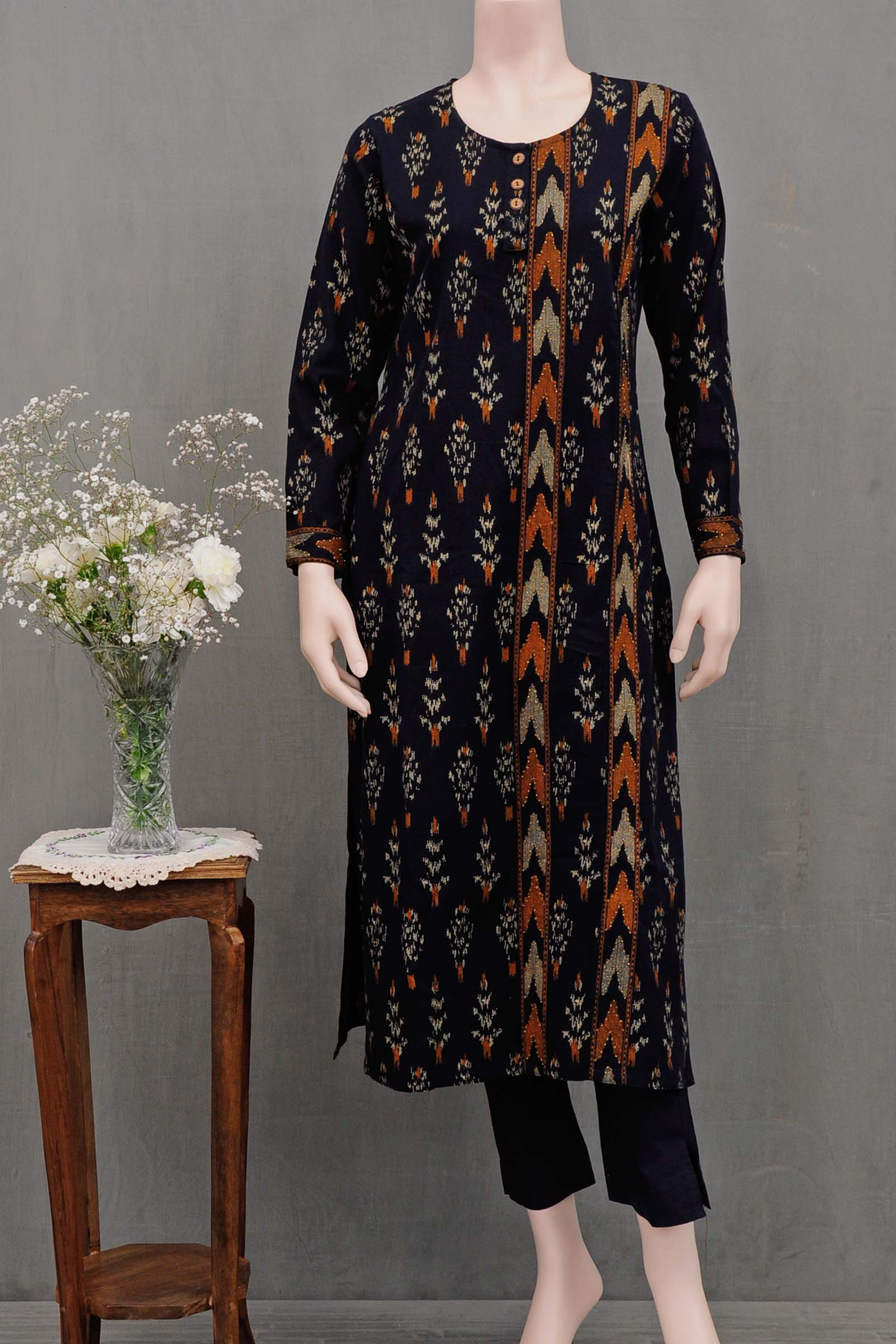 Navy Ikat Cotton Kurta