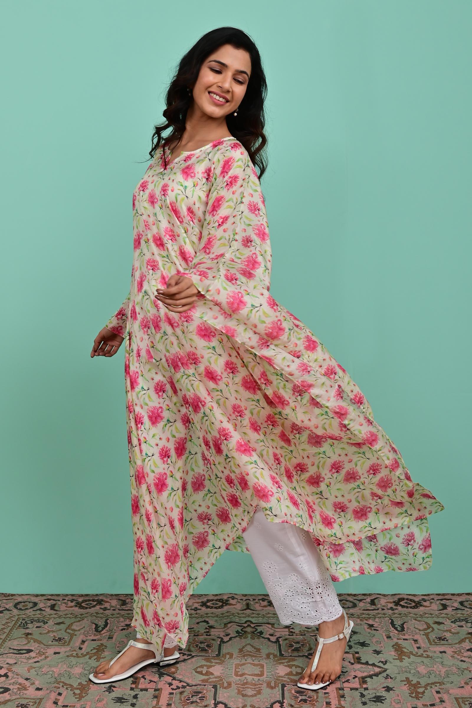 Pink Flowers Silk Kaftan
