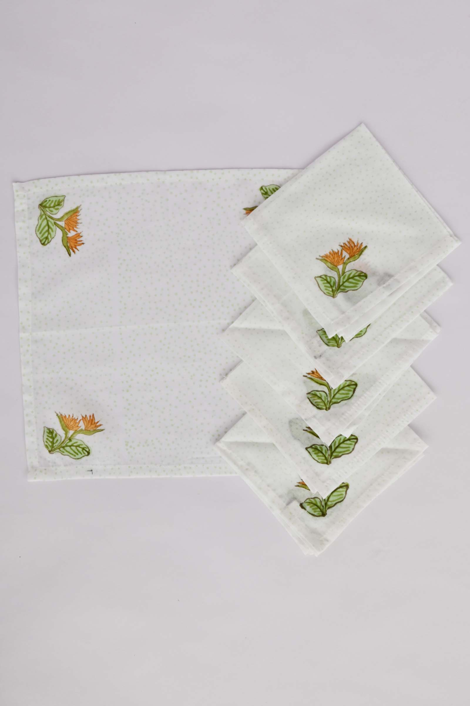 Bird Of Paradise Floral Printed Tea Napkin Set Of 6