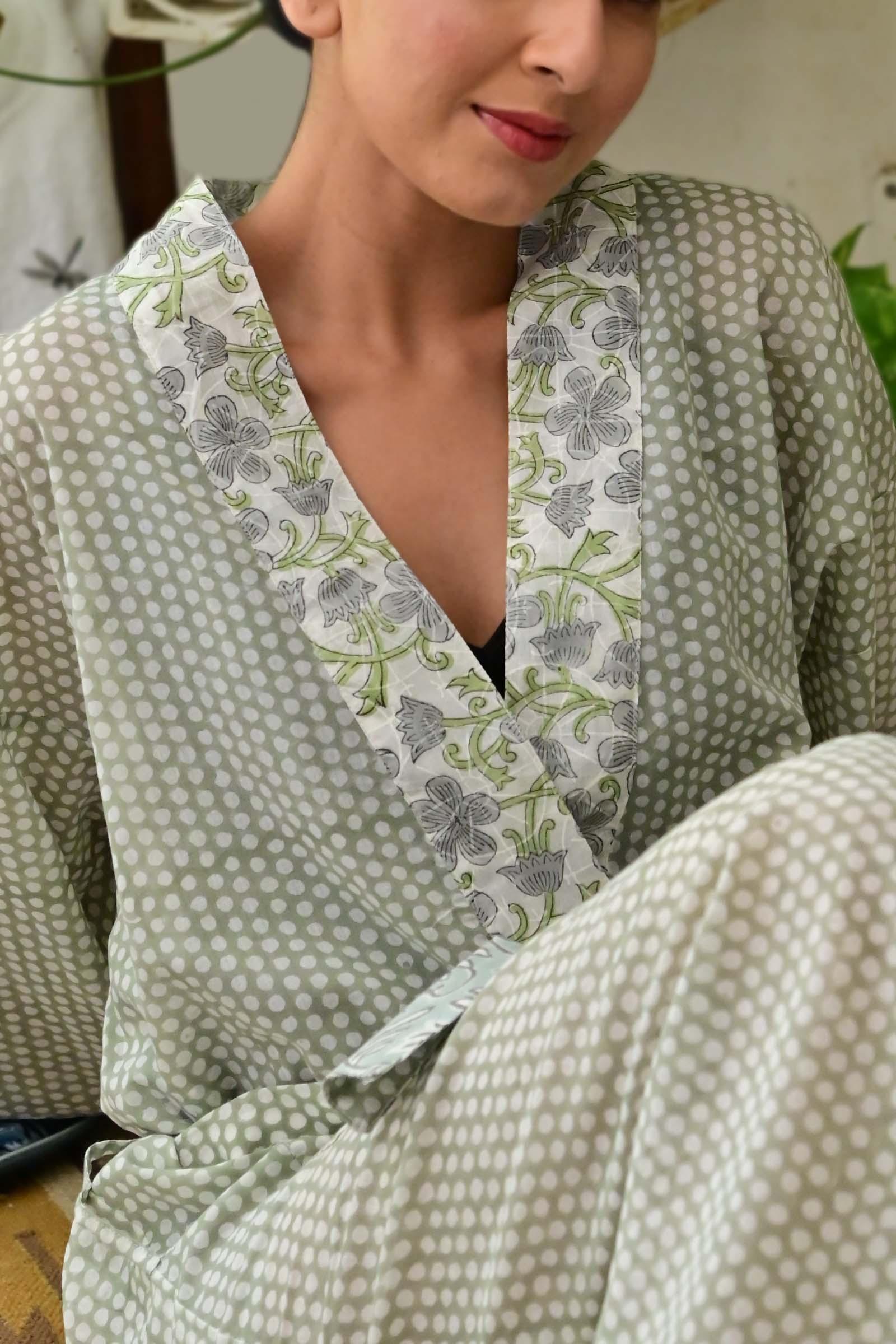 Polka Dot Cotton Kimono Long