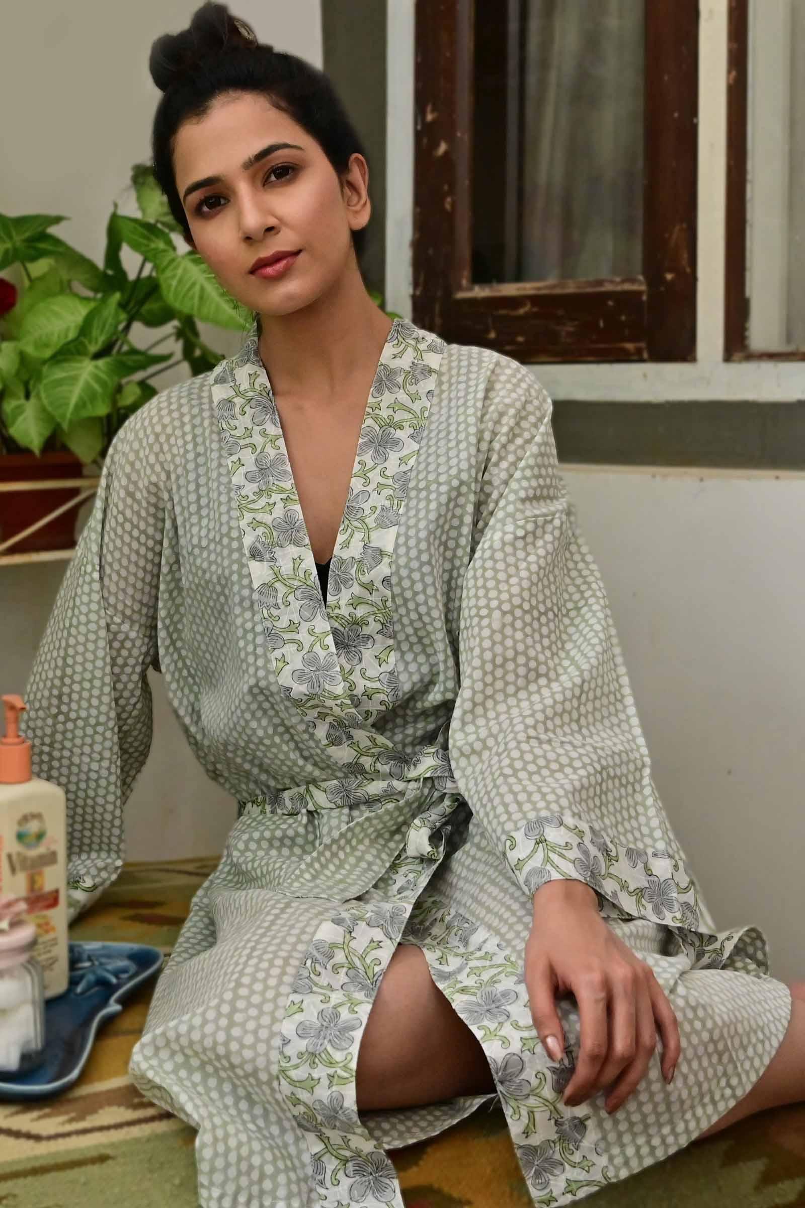 Polka Dot Cotton Kimono Short