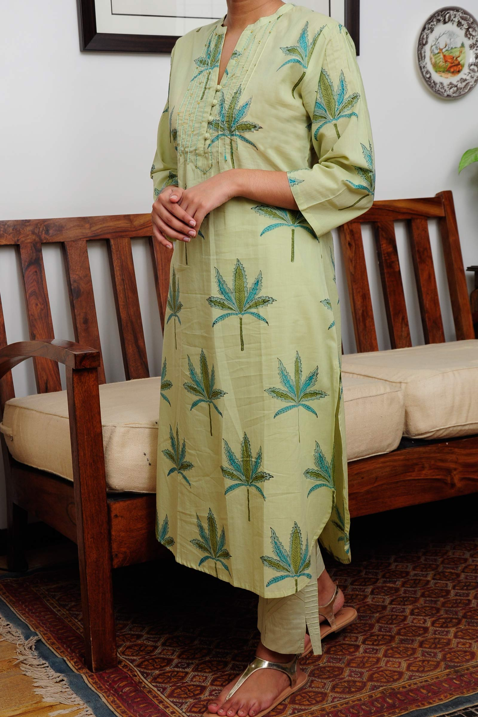 Palm Leaf Cotton Kurta