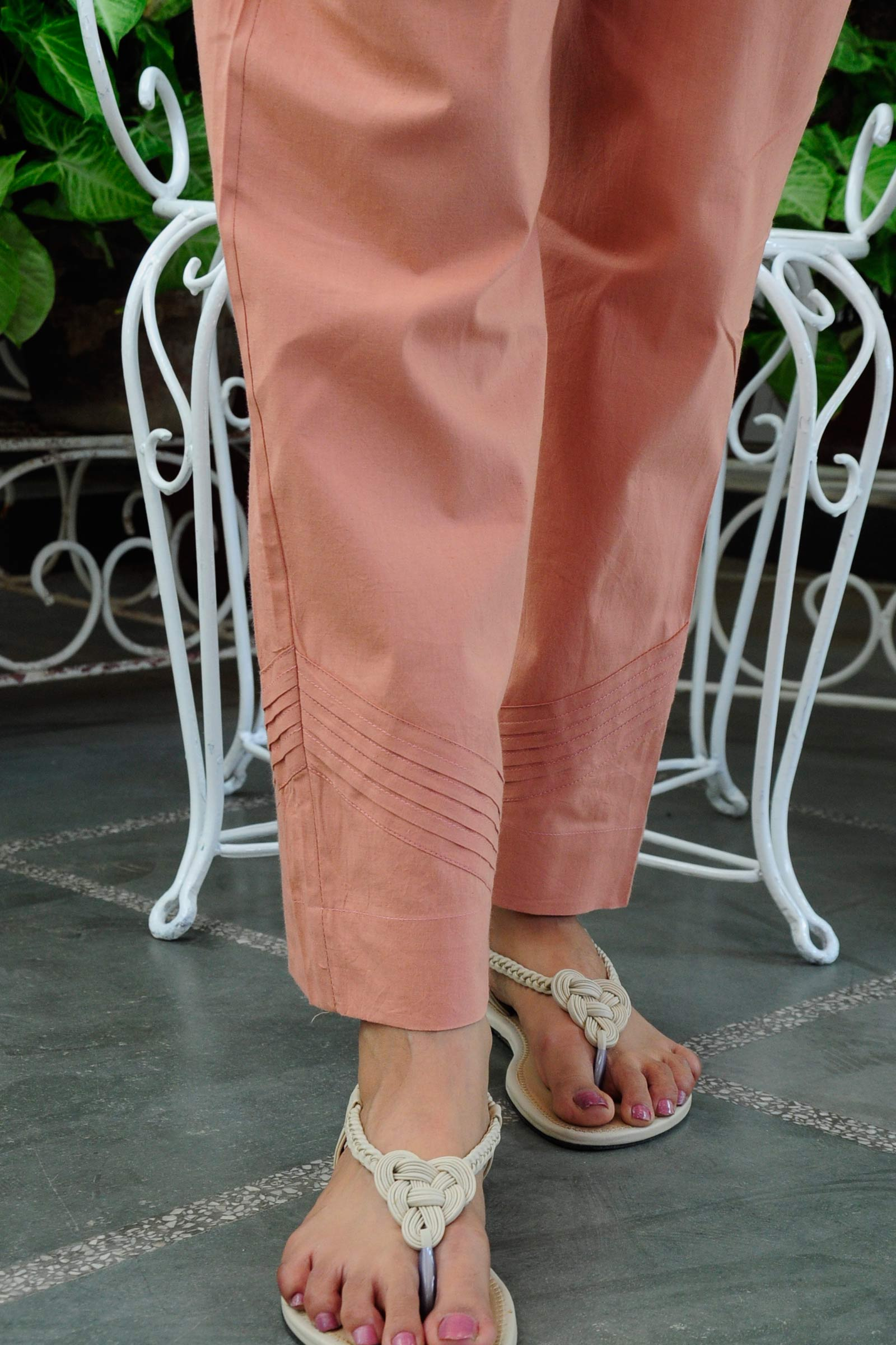 Peach Vacation Cotton Cigarette Pant