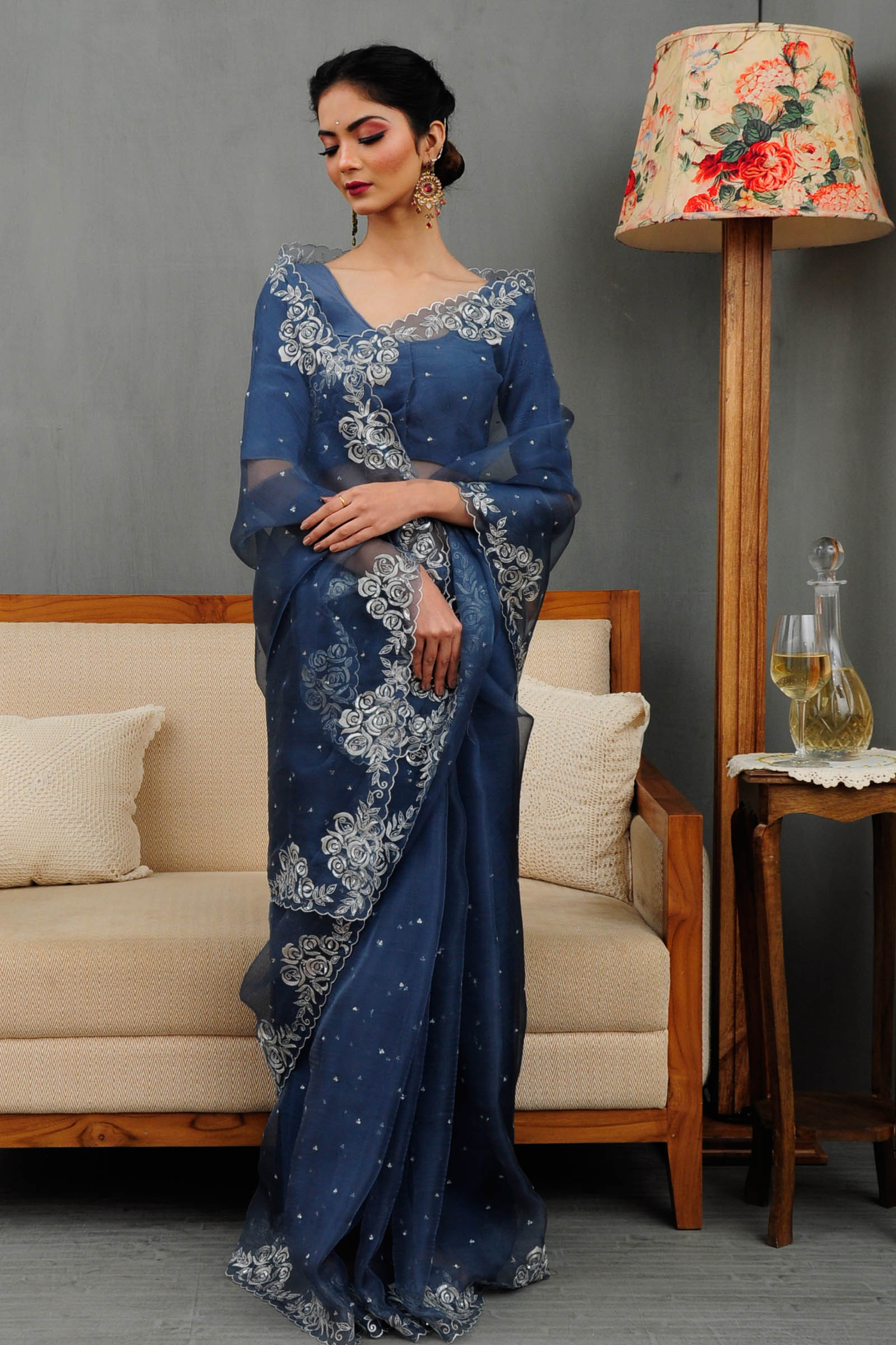 Pariza Blue Quartz Saree