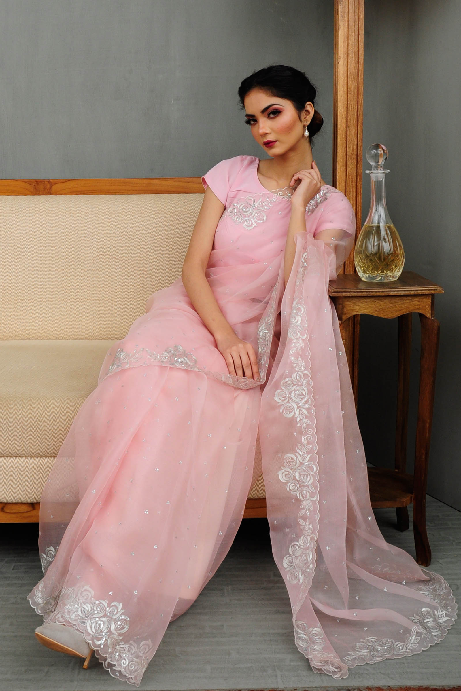 Pariza Rose Quartz  Saree