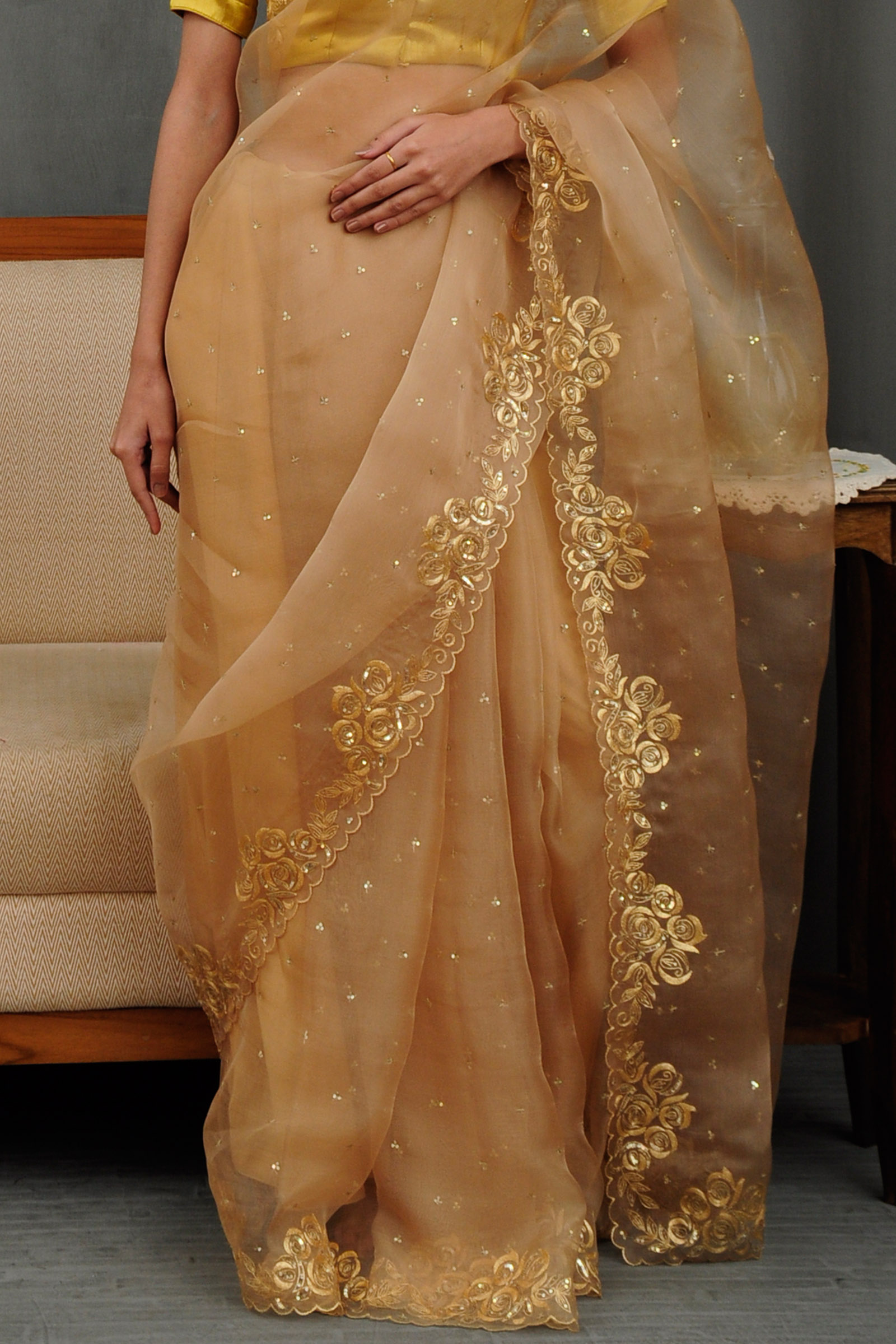 Pariza Golden Saree