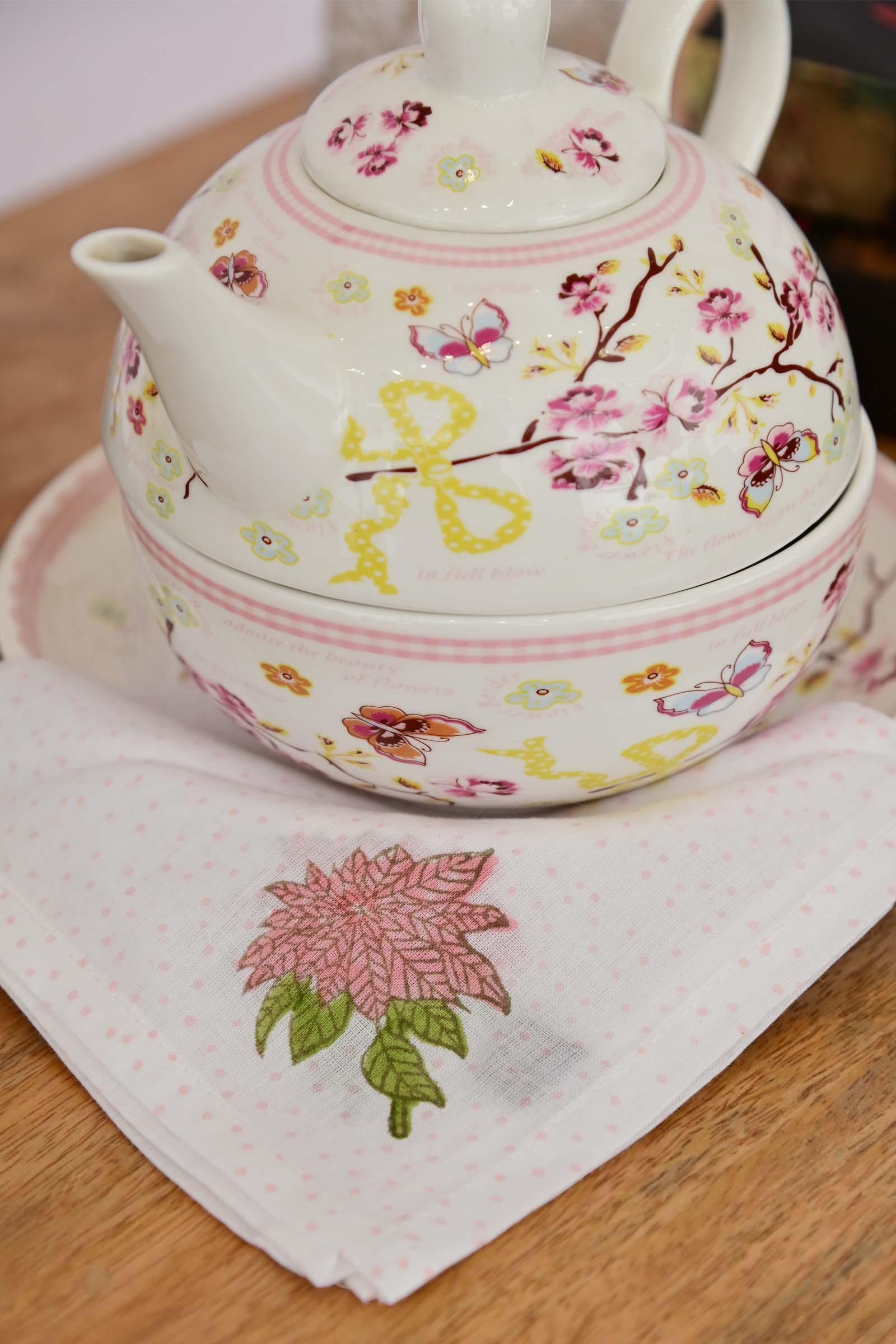 Poinsettia Floral Printed Tea Napkin Set Of 6