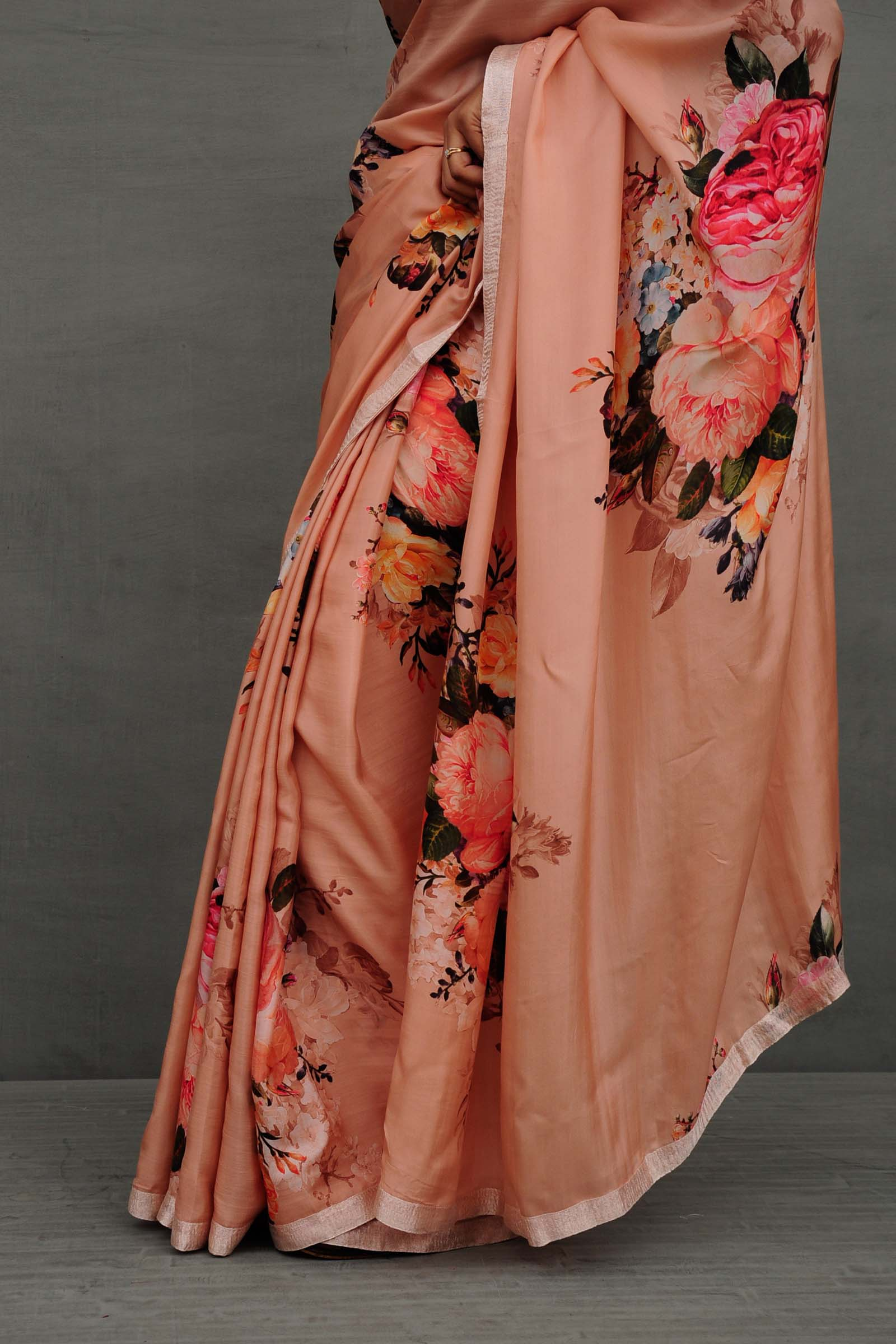 Peach Peonies Saree