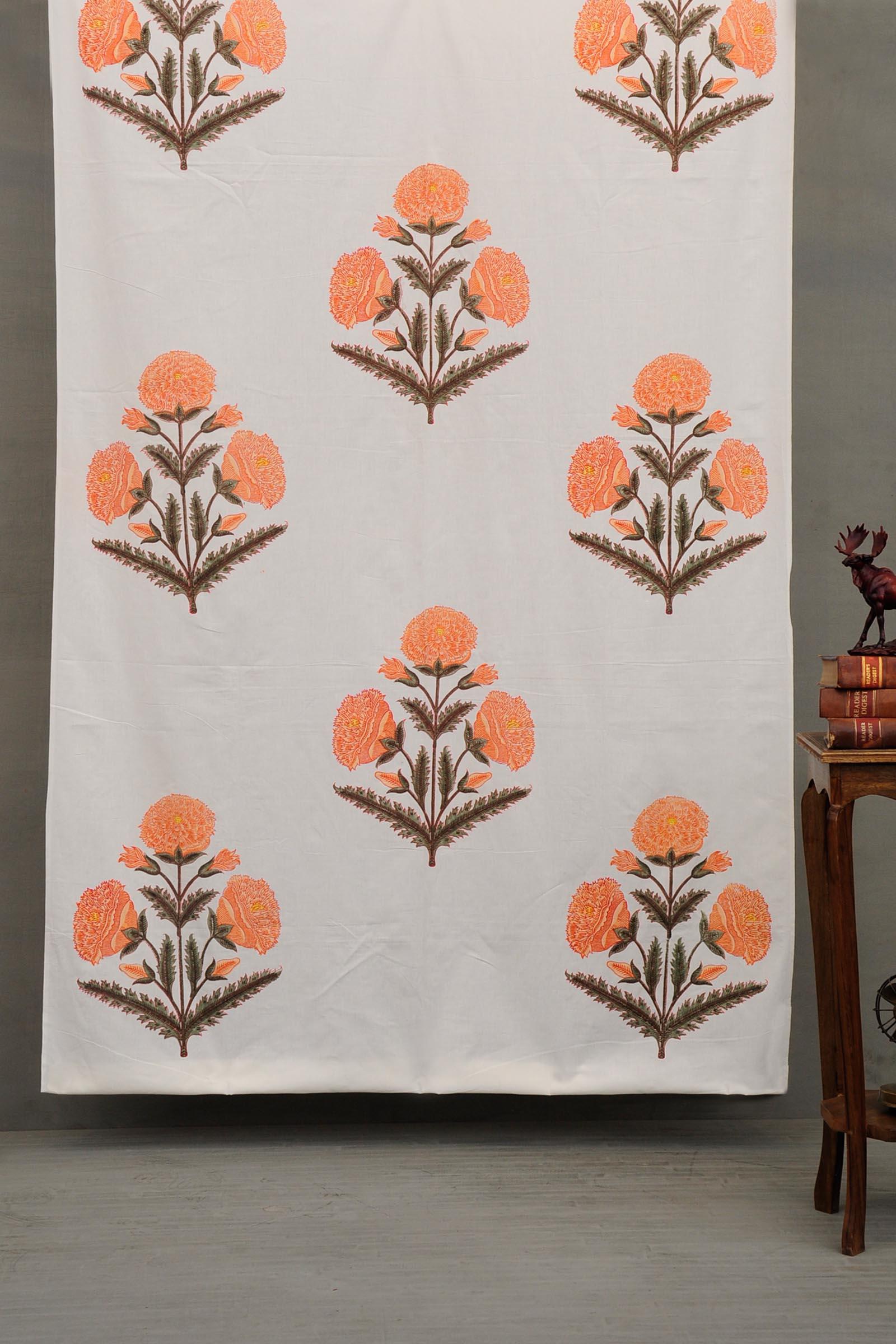 Peach Poppies Fabric