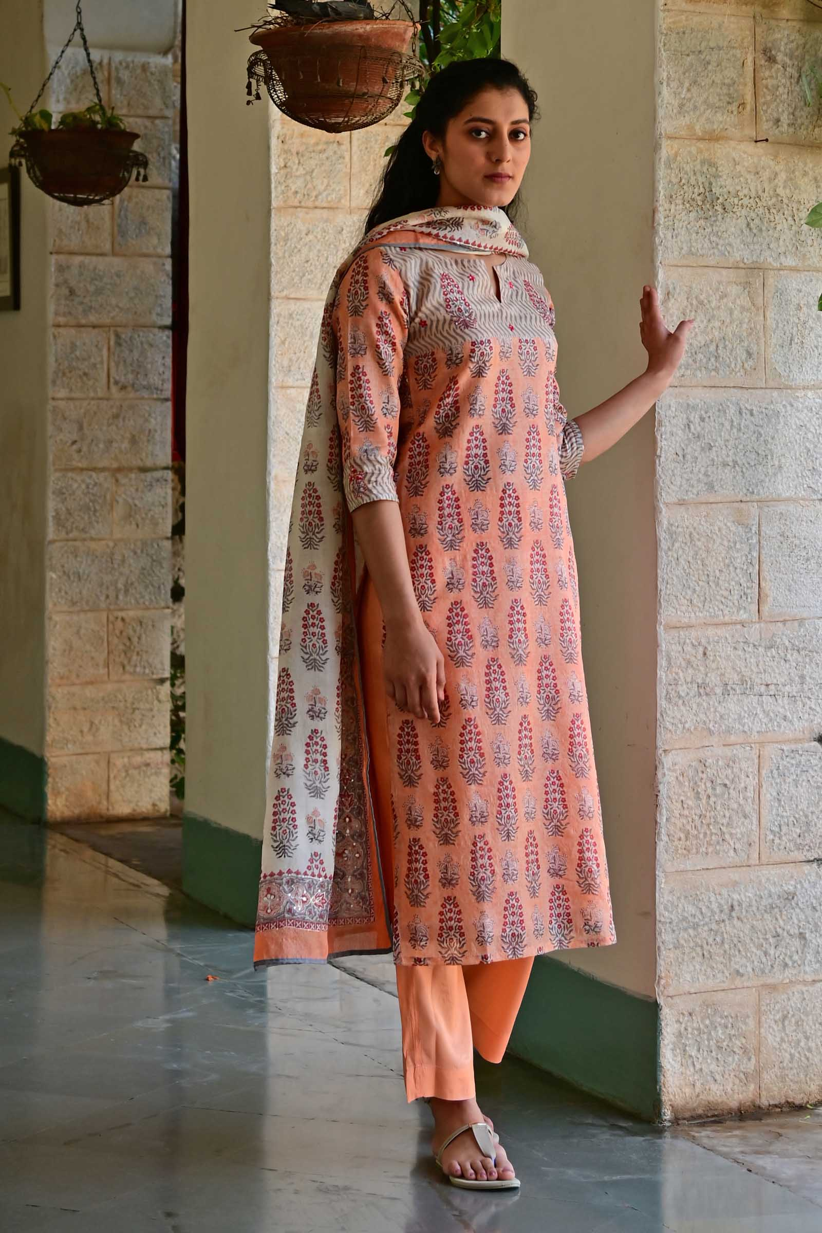 Peach Delight Silk Kurta