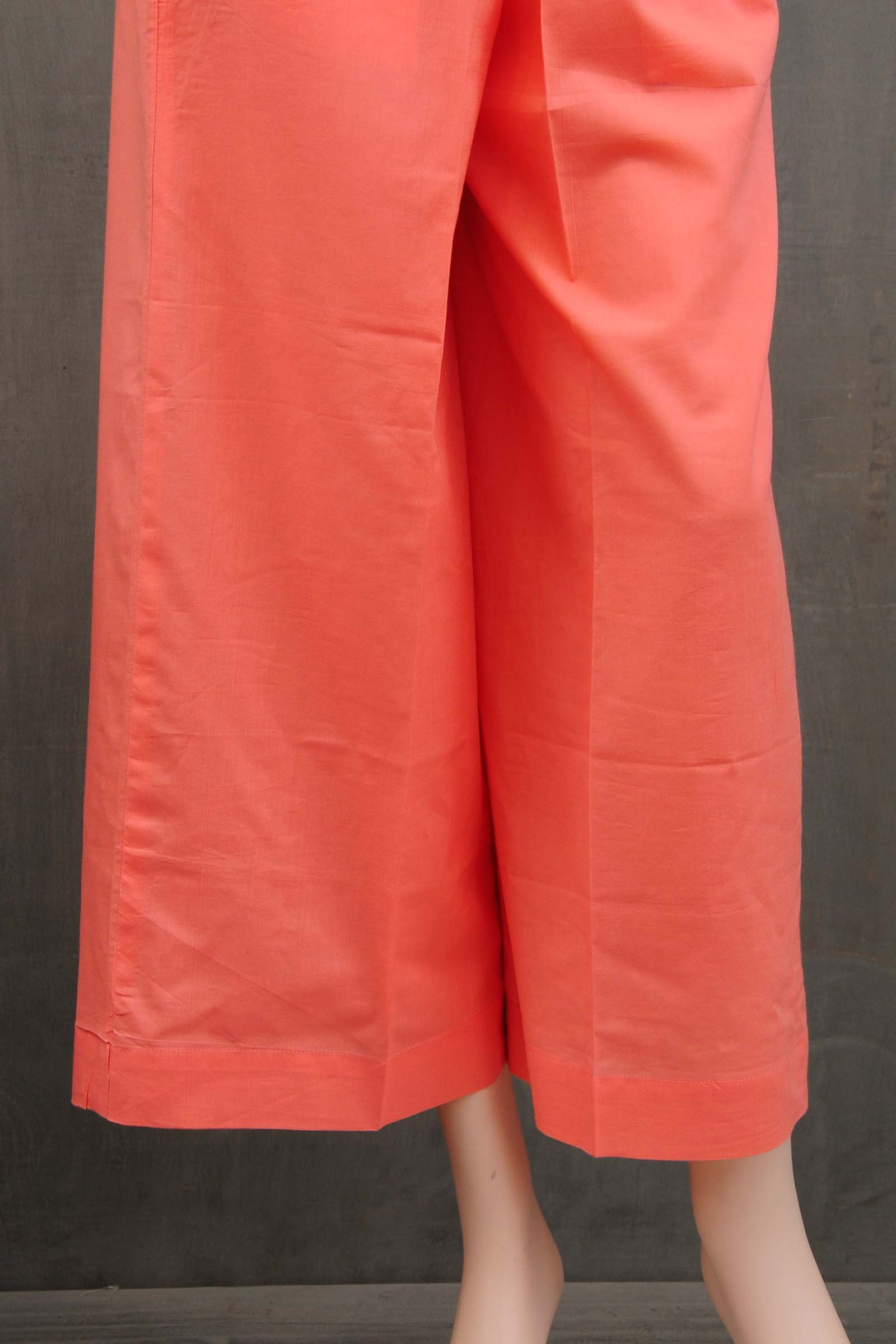 Peach Gota Cotton Straight Pant