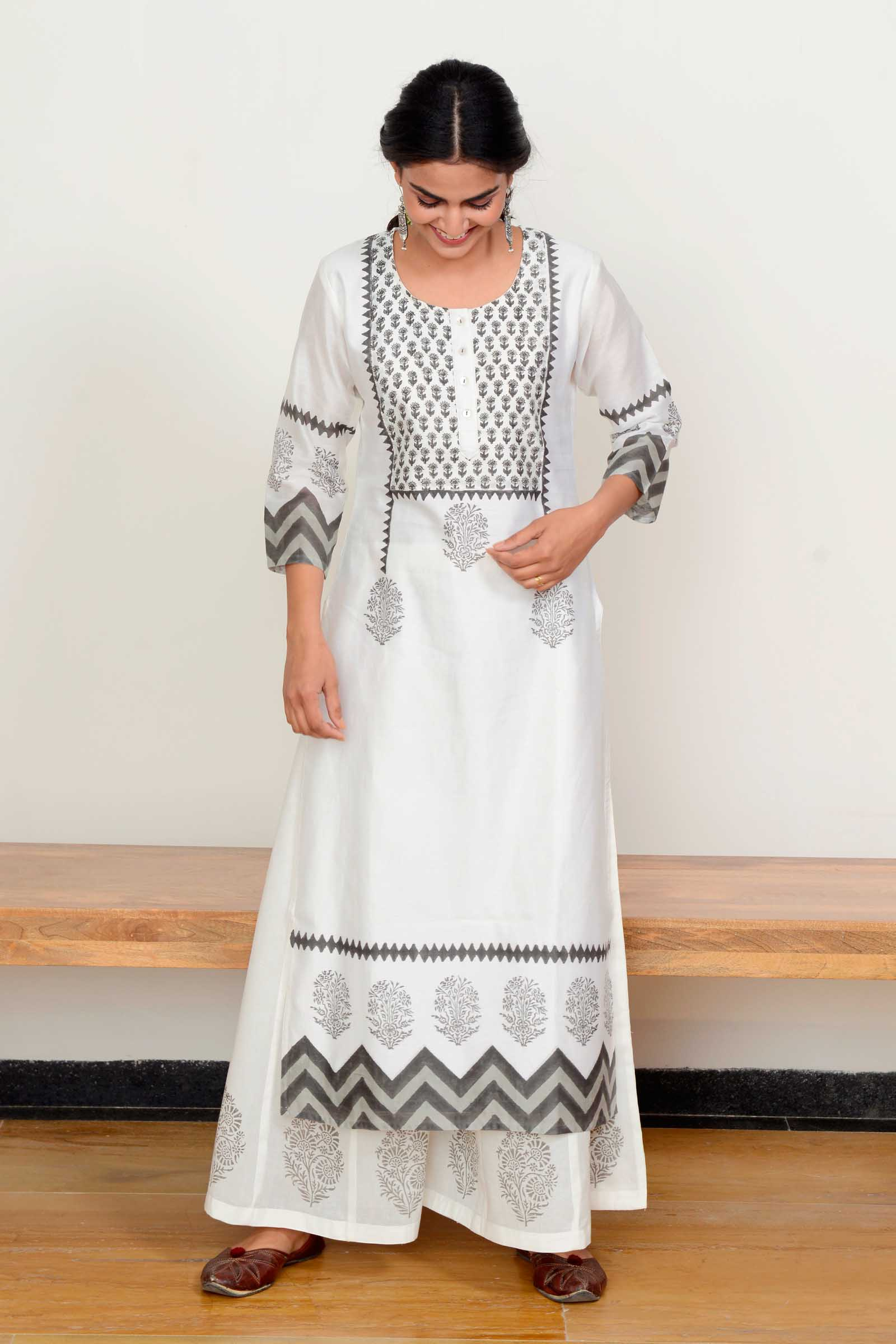 Pearl Grey Chanderi Kurta