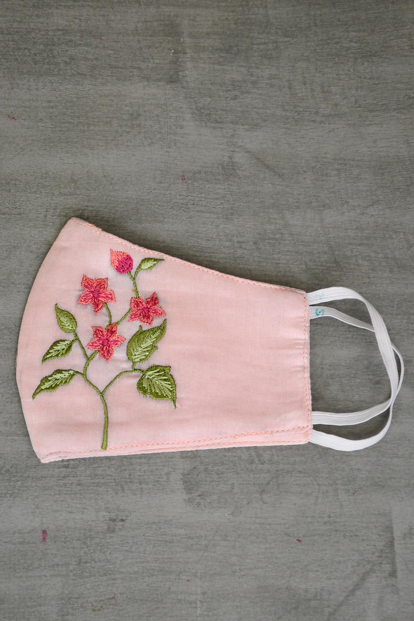 Pink Embroidered Mask