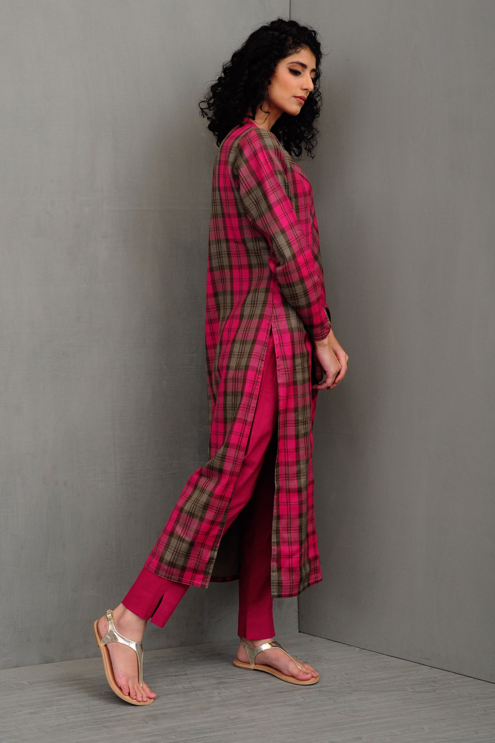 Pink Checks Woolen Kurta