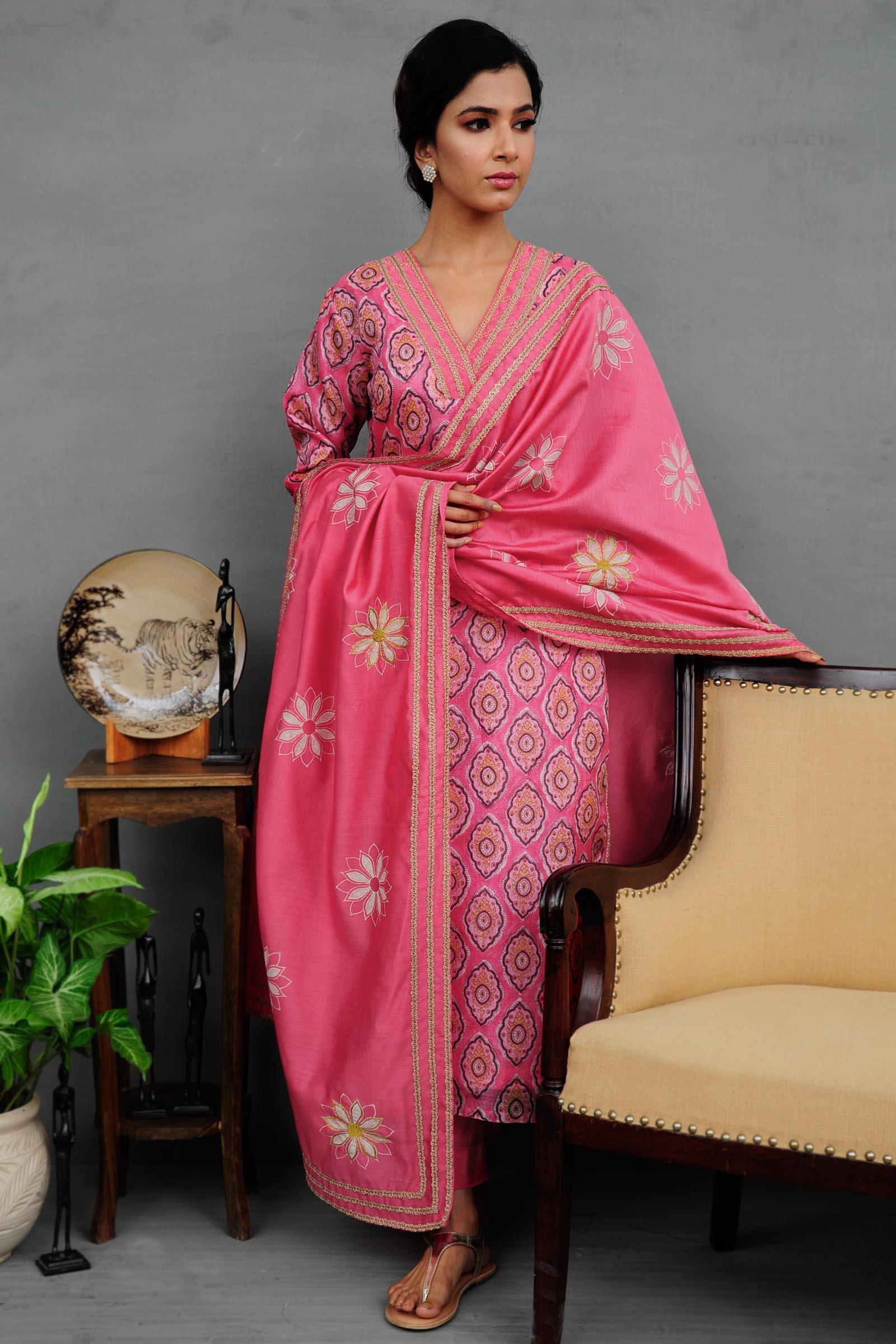 Pink Ink Silk Kurta