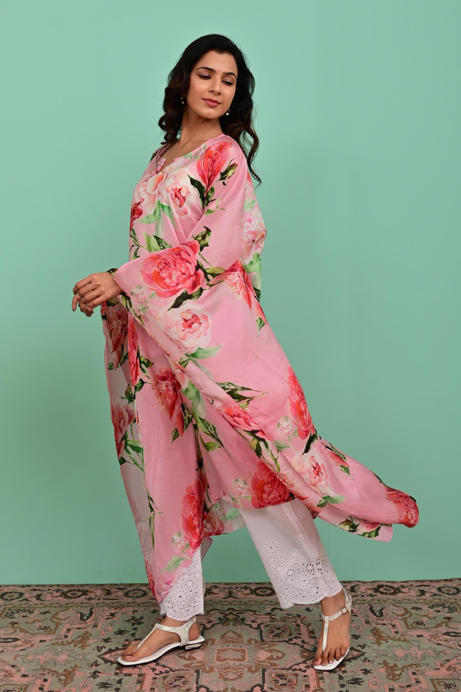 Pink Silk Kaftan