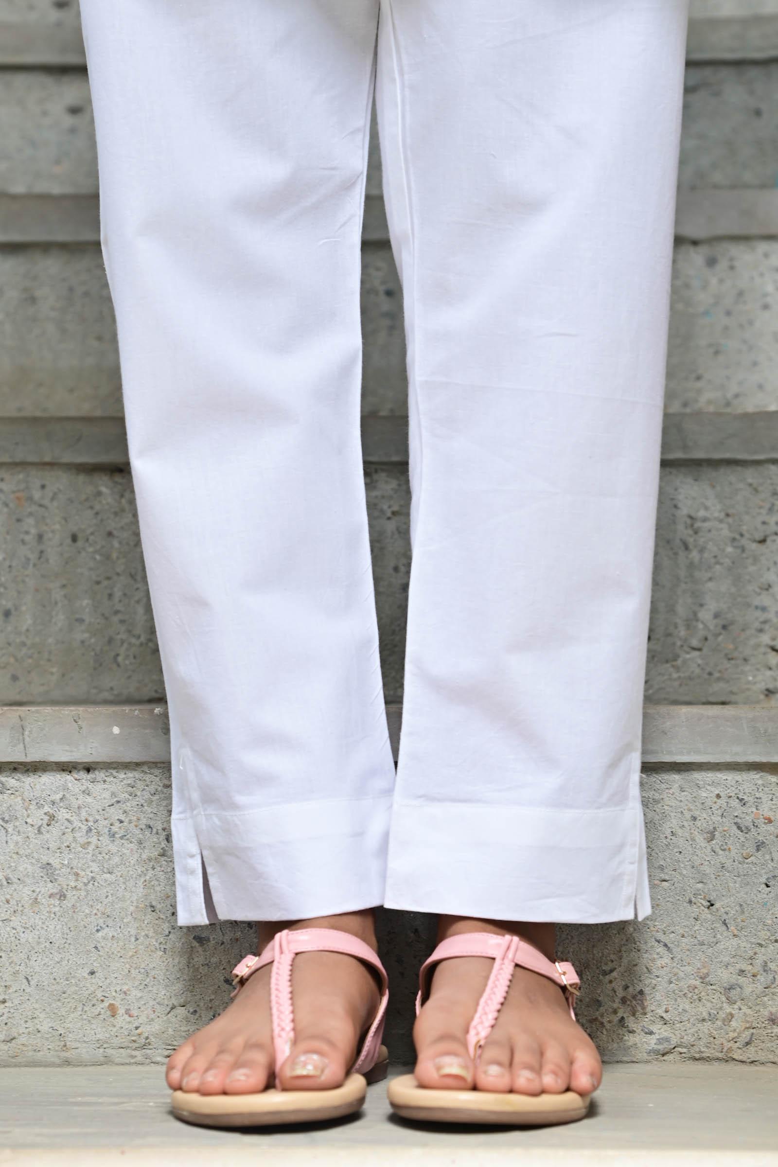 White Plain Cigarette Pant