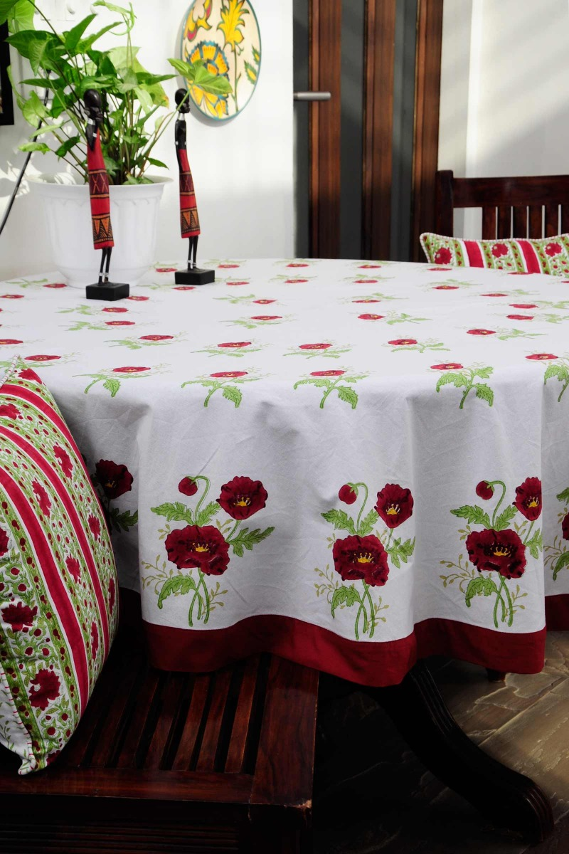 Red Poppies Round Table Cover