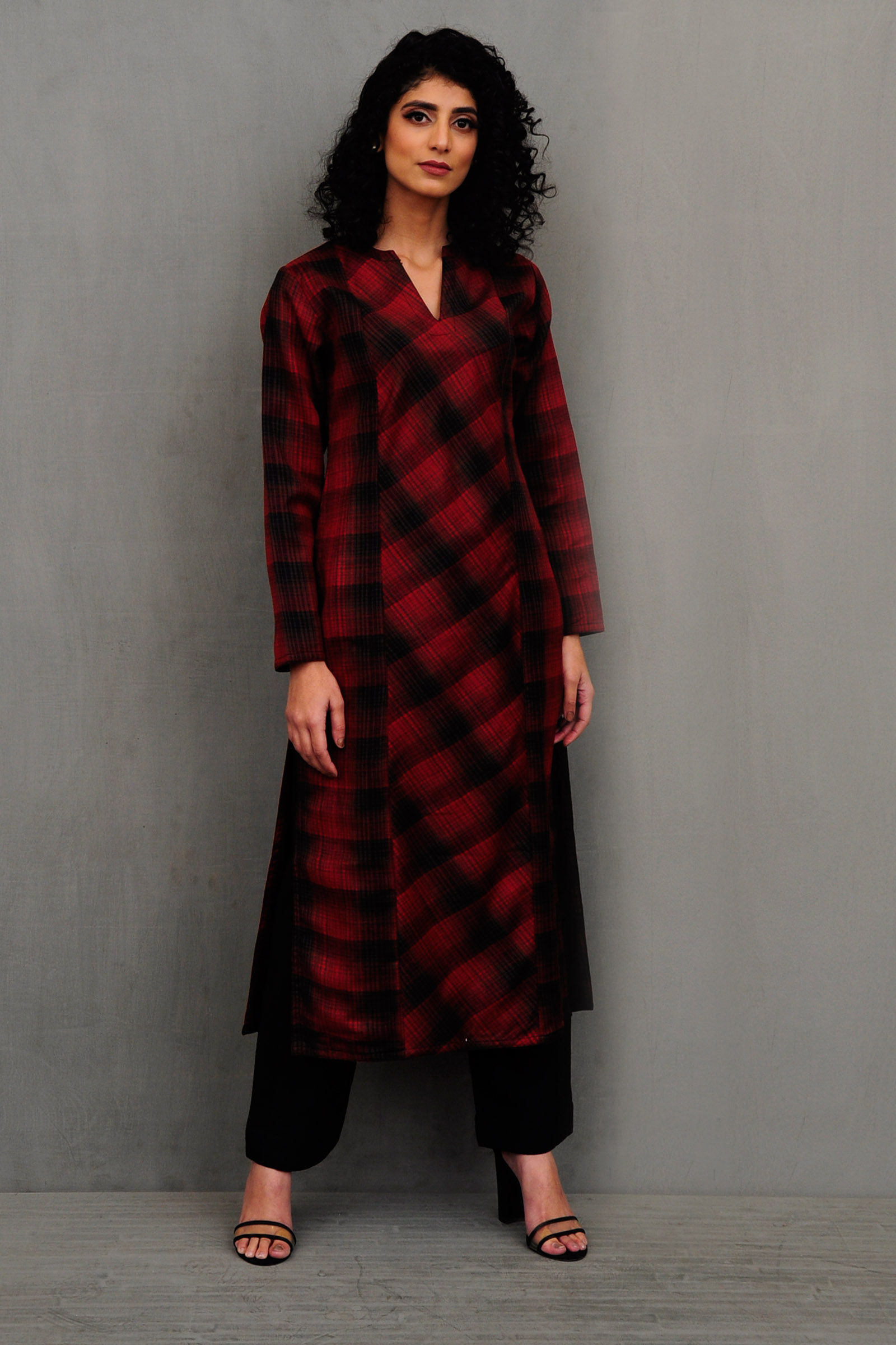 Red Check Woolen Kurta