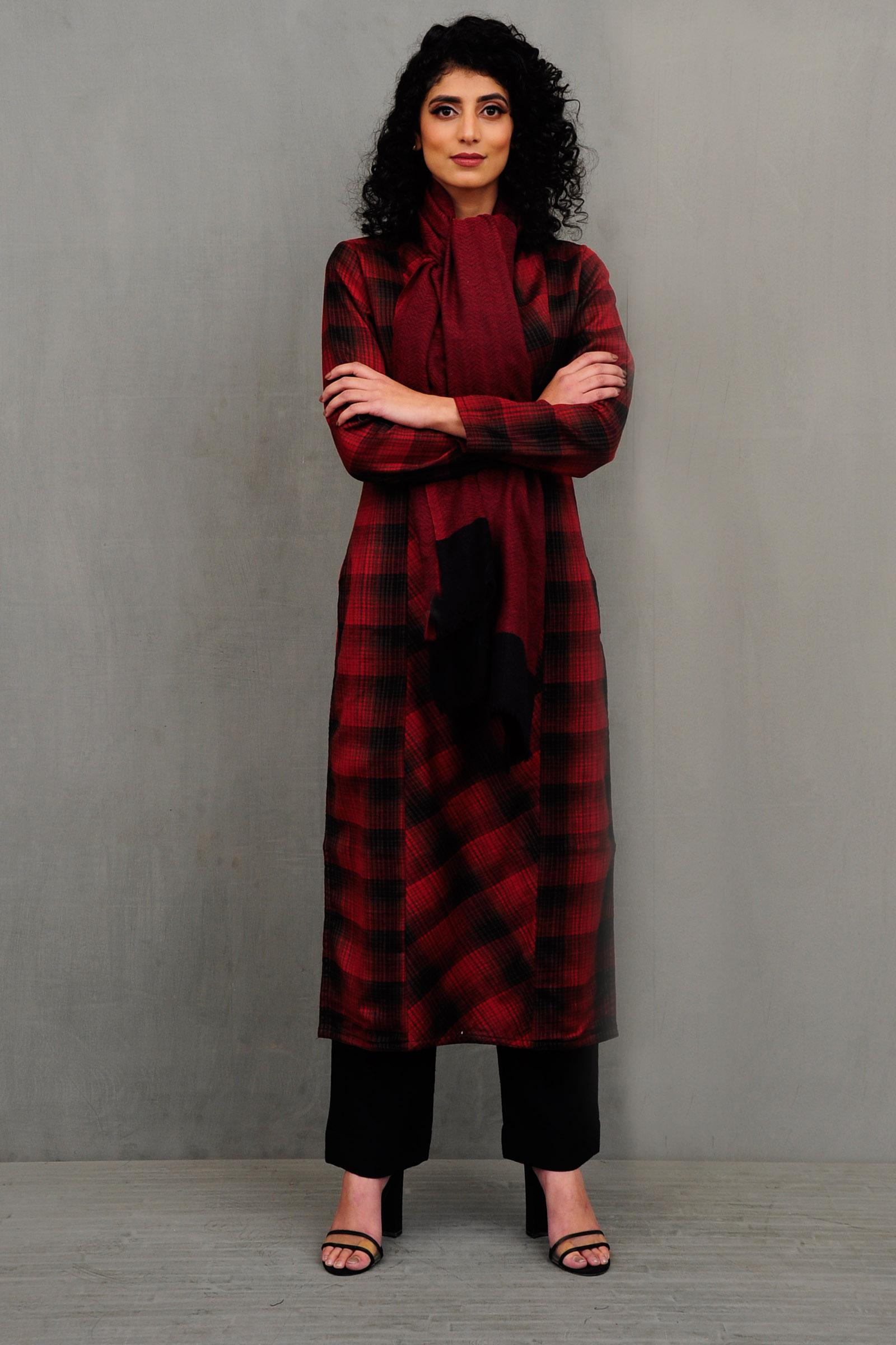 Red Check Woolen Kurta
