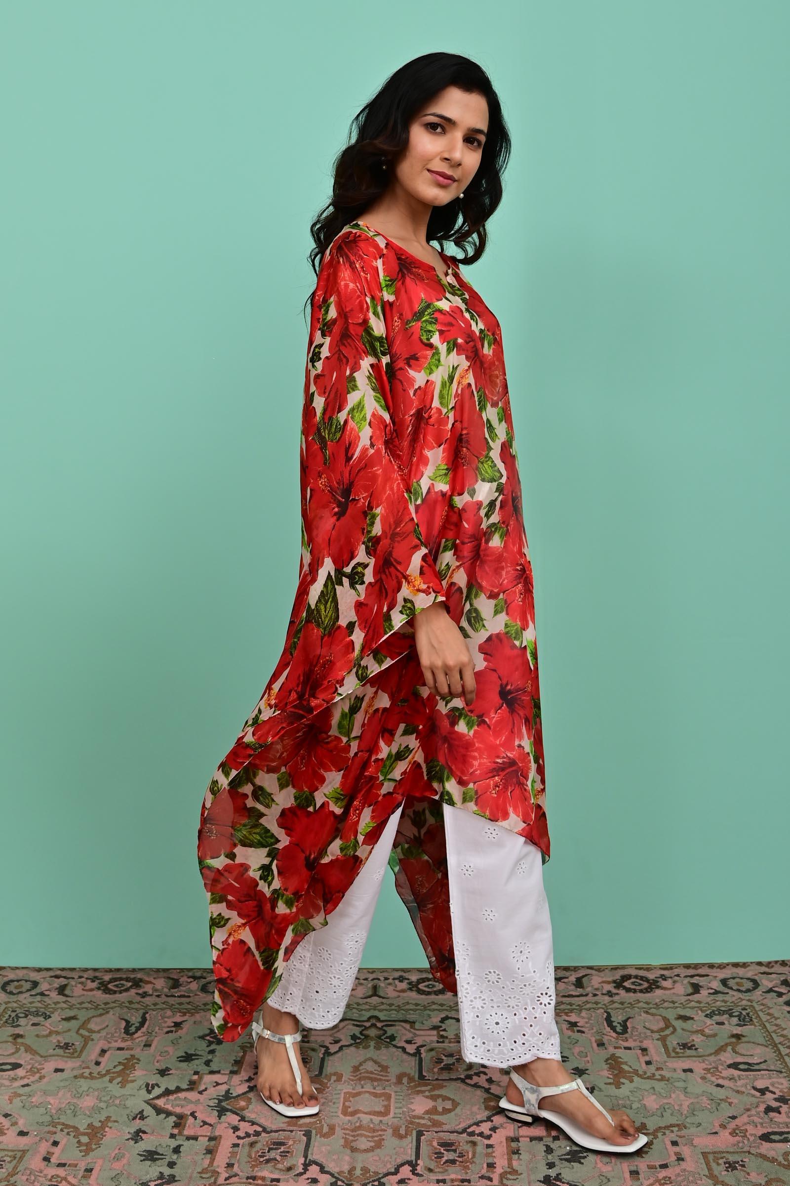 Red Silk Kaftan