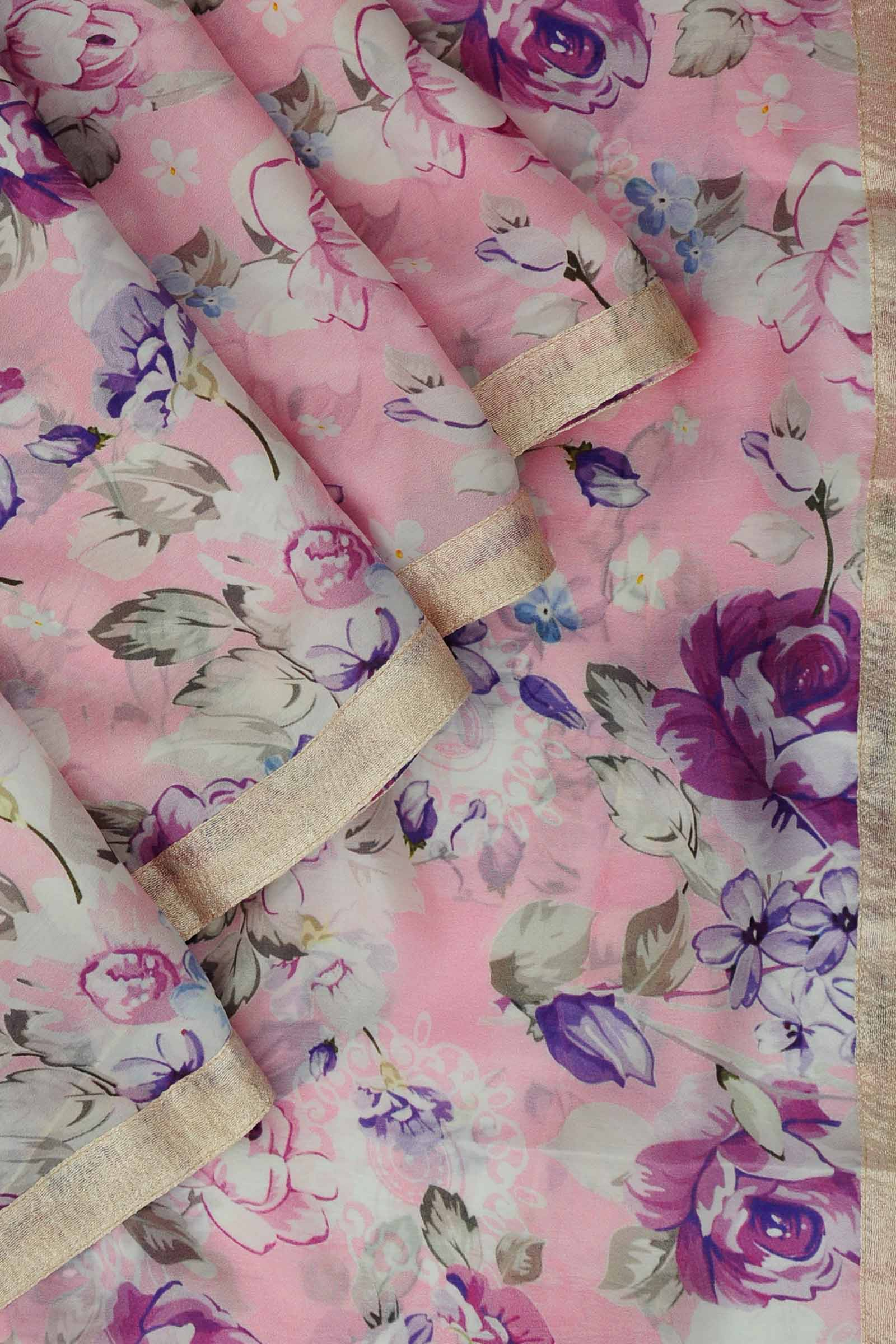 Pink tissue silk printed