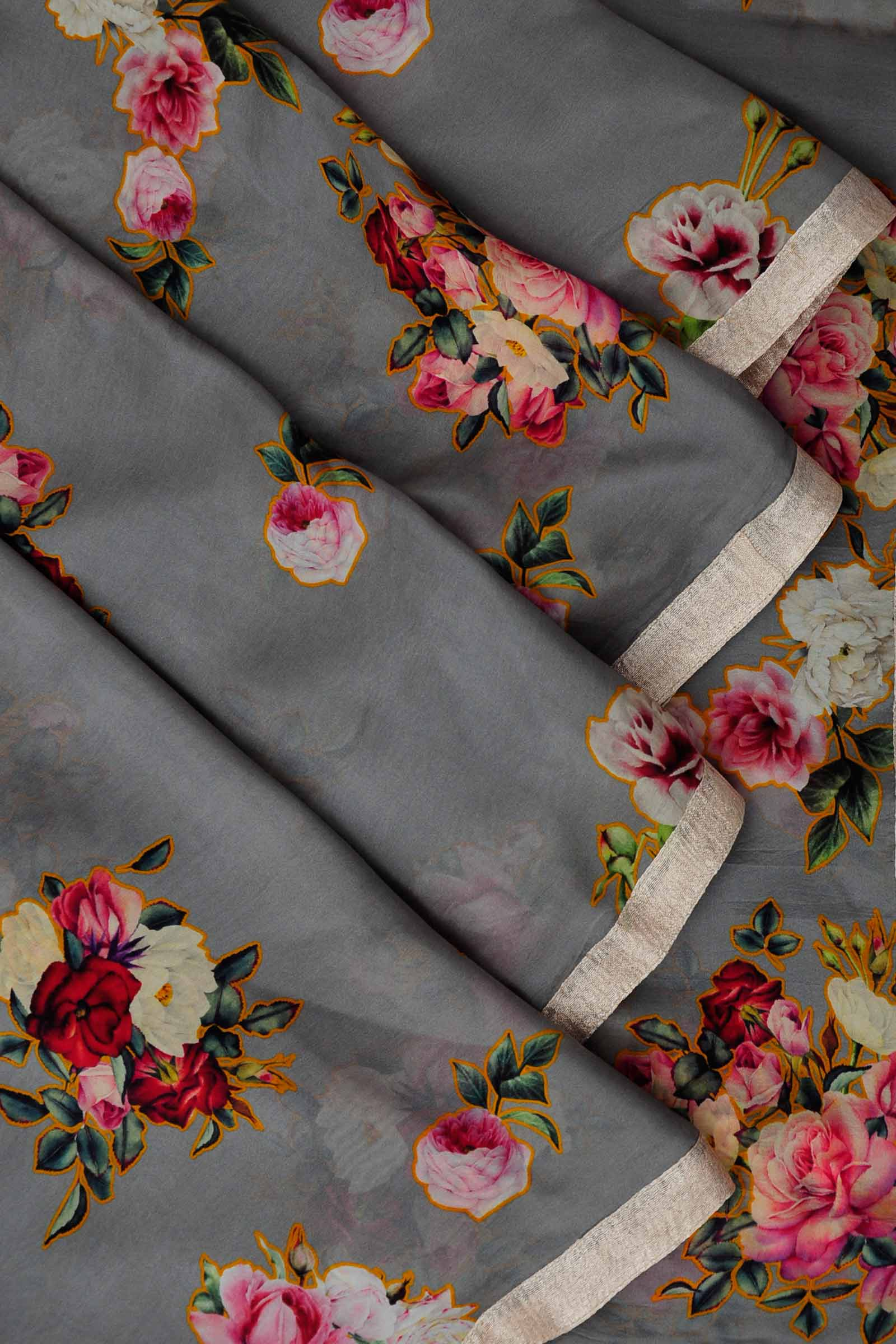 Grey tissue silk printed