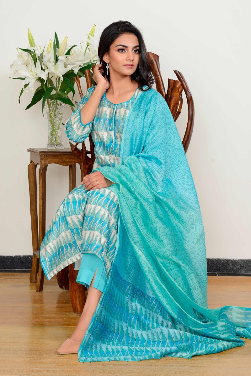 Sawan Blue Chanderi Kurta