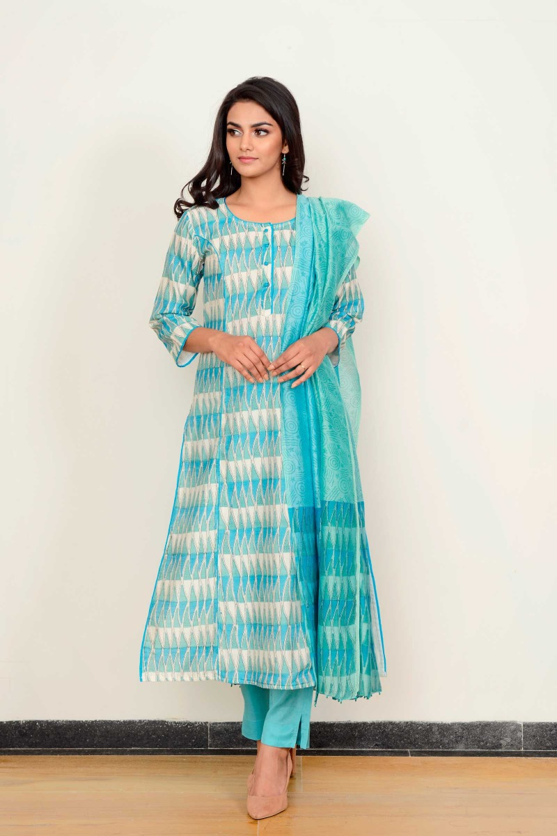 Sawan Blue Assam Silk Cigarette Pant
