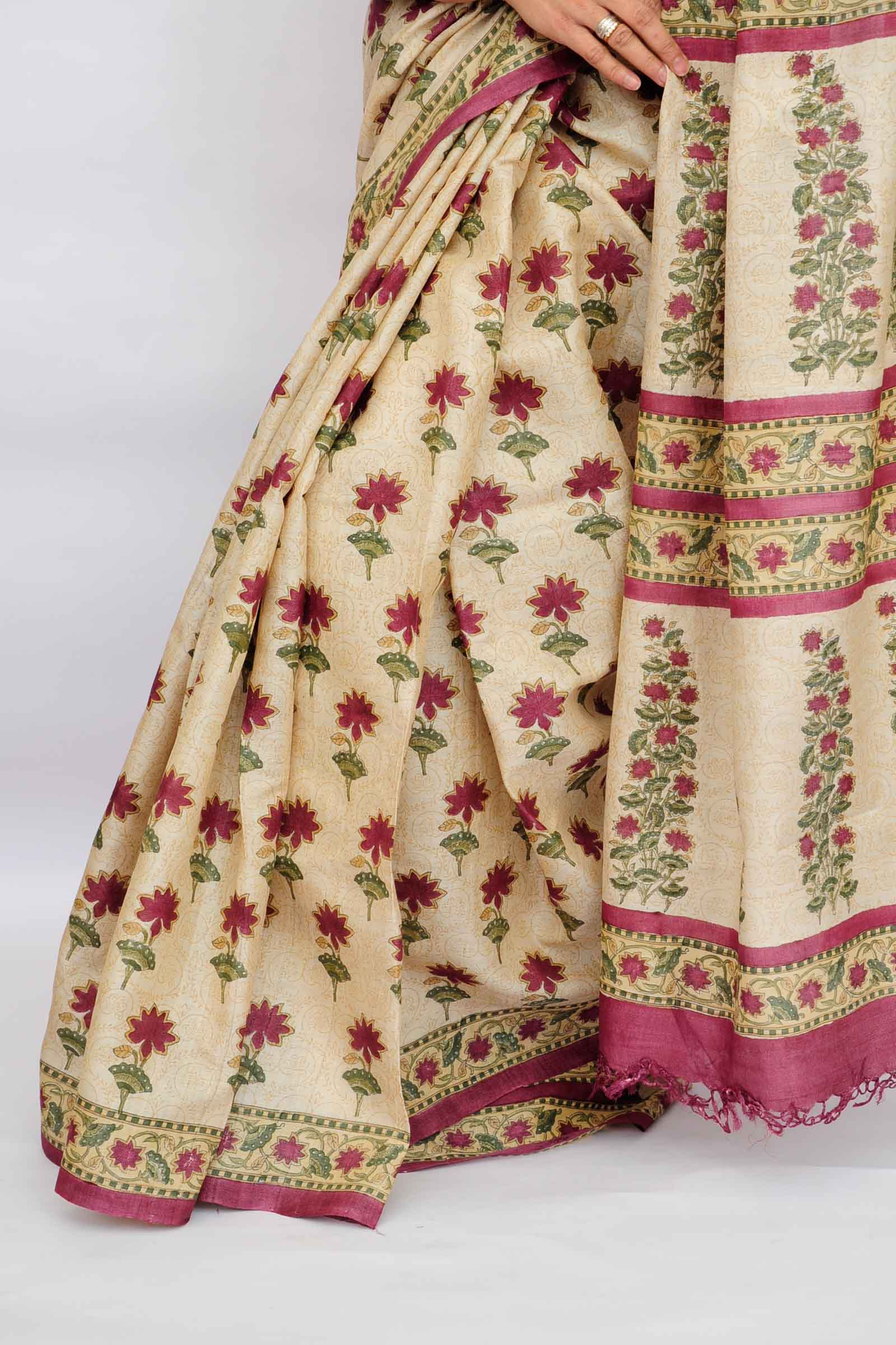 Scarlet Bloom Tussar Saree