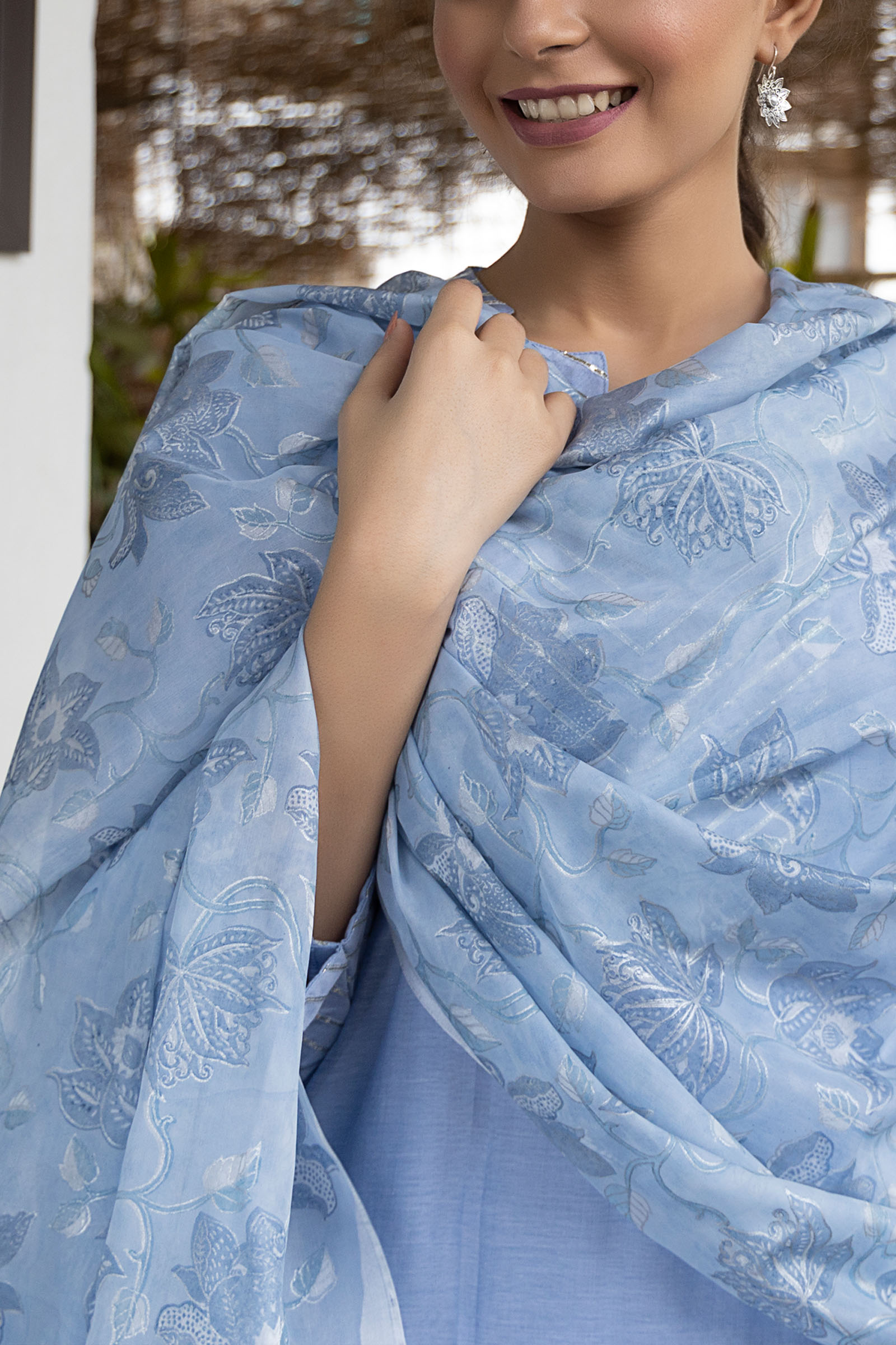 Serene Blue Printed Silk Dupatta