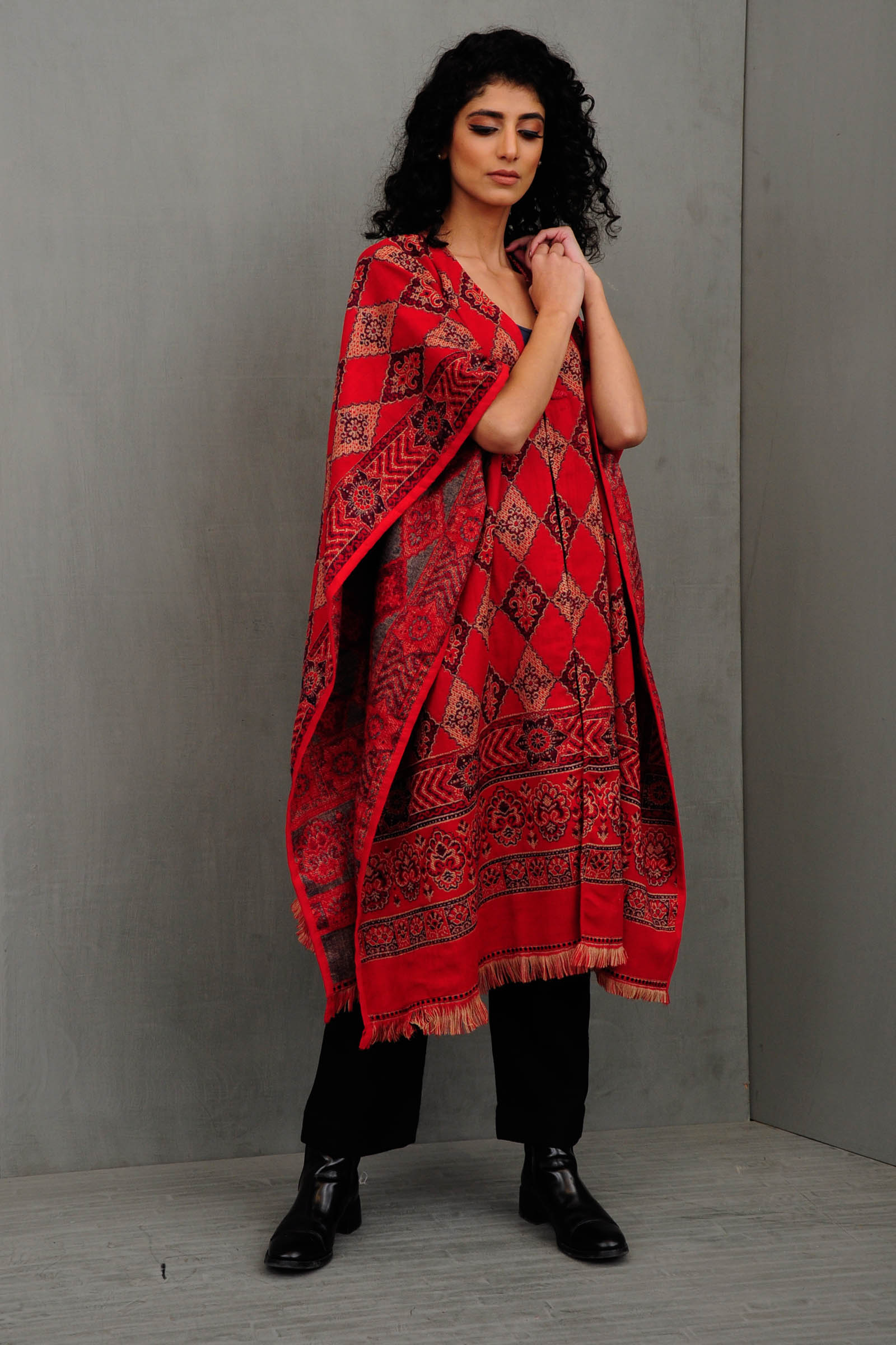 Red Diamond Reversible Cape
