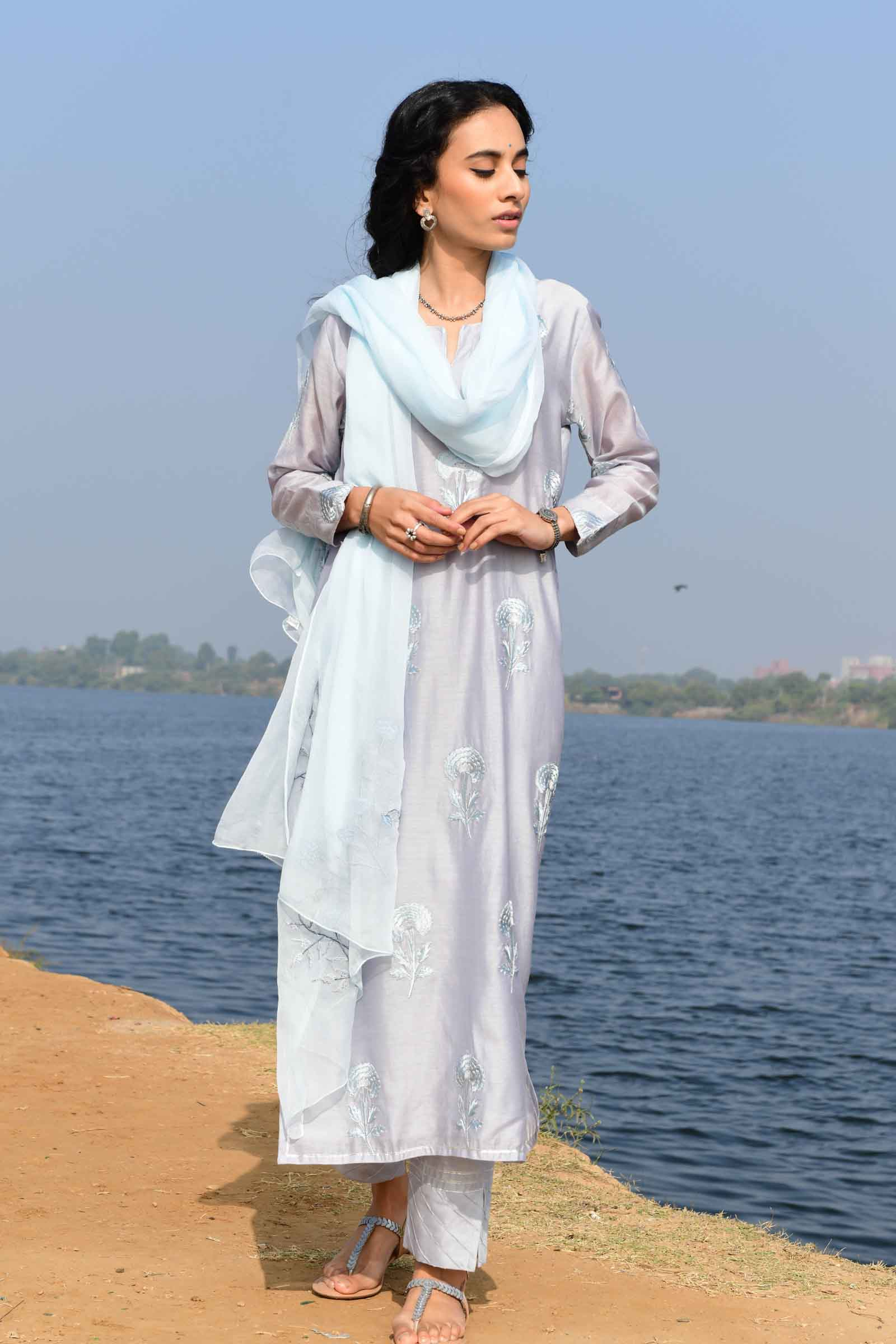 Sky carnation Chanderi Kurta
