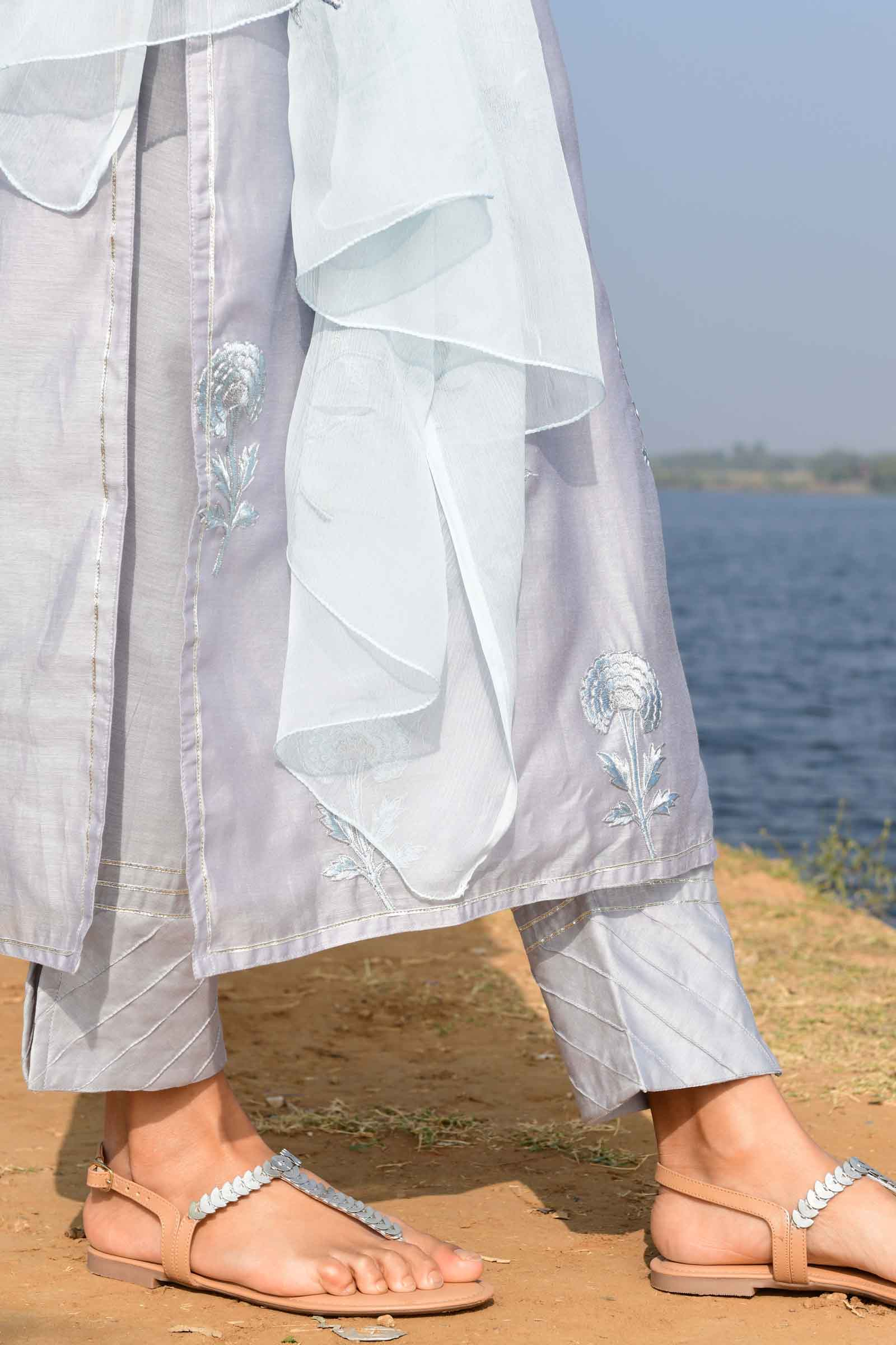 Sky carnation Chanderi Cigarette Pant