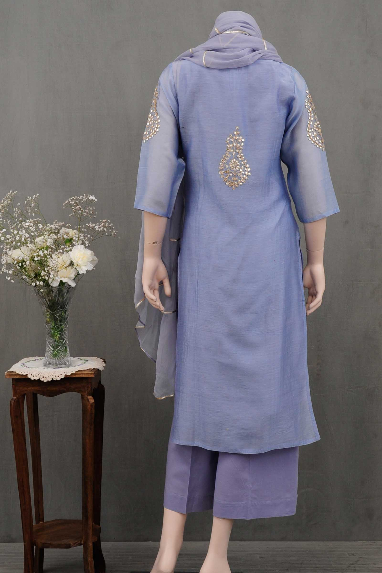 Smokey Blue Gota Patti Chanderi Kurta
