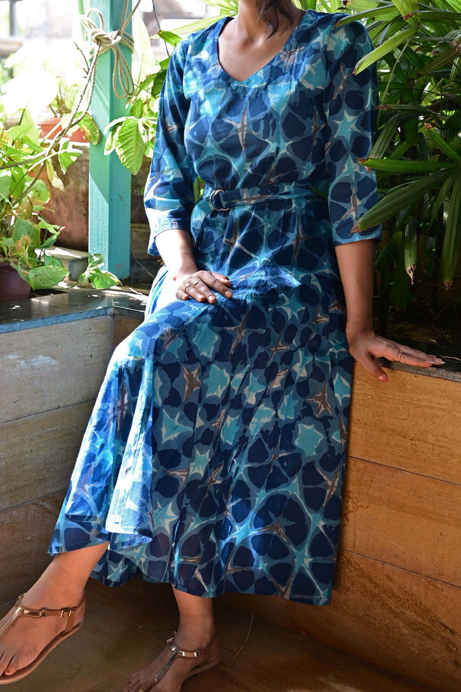 Starry Blue Cotton Dress