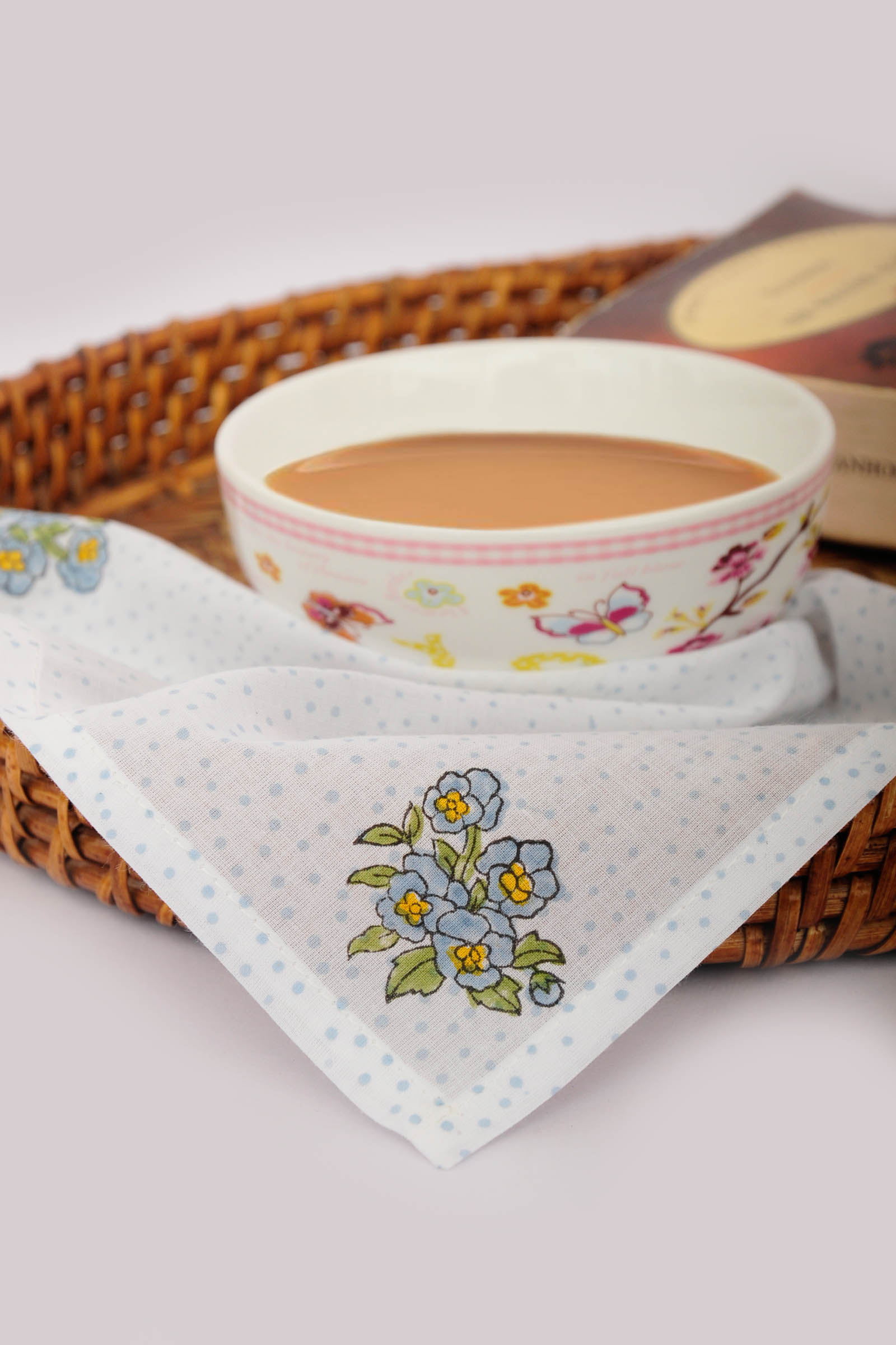 Floral Printed Tea Napkin Set Of 6