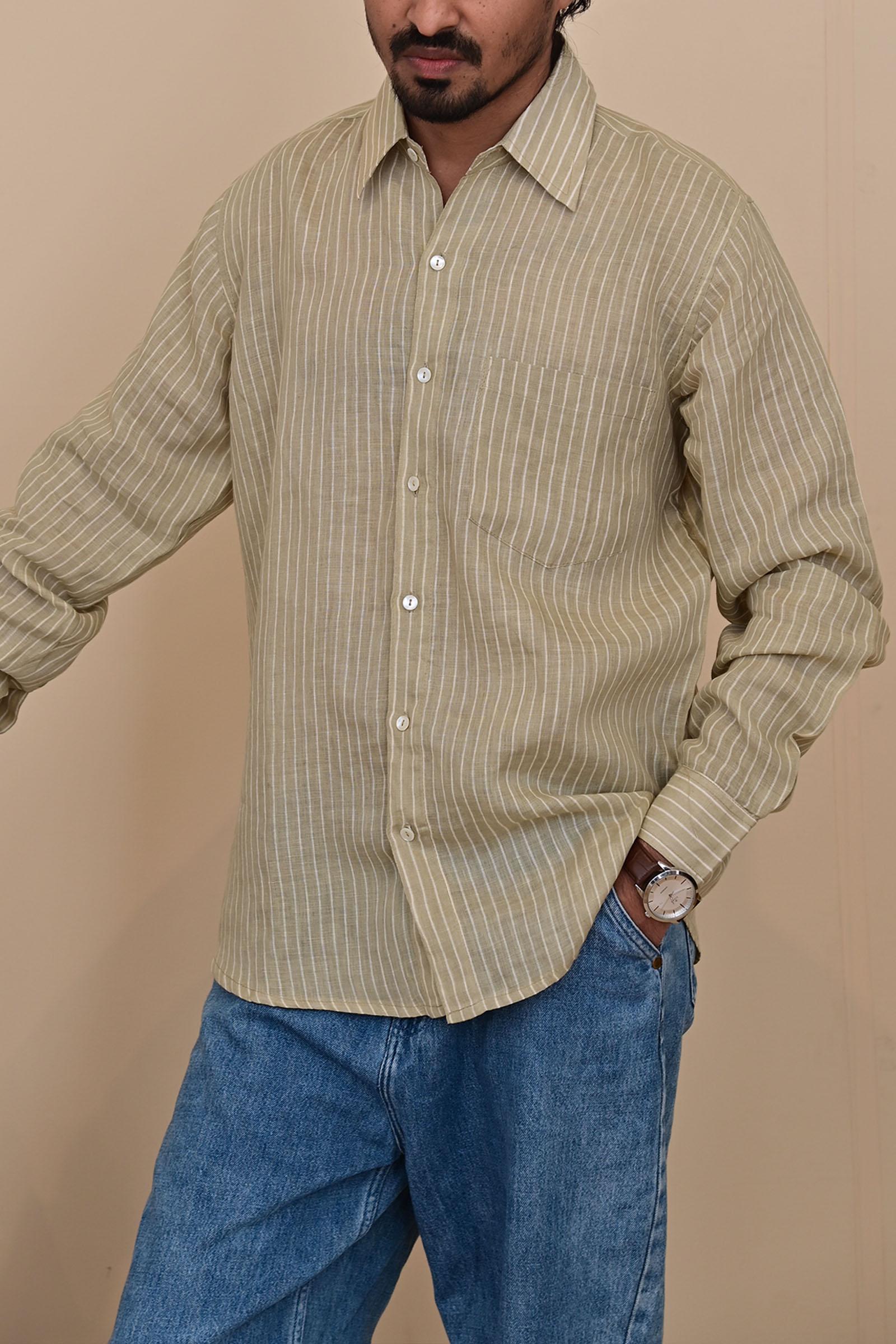 Khaki Stripe Linen F/S
