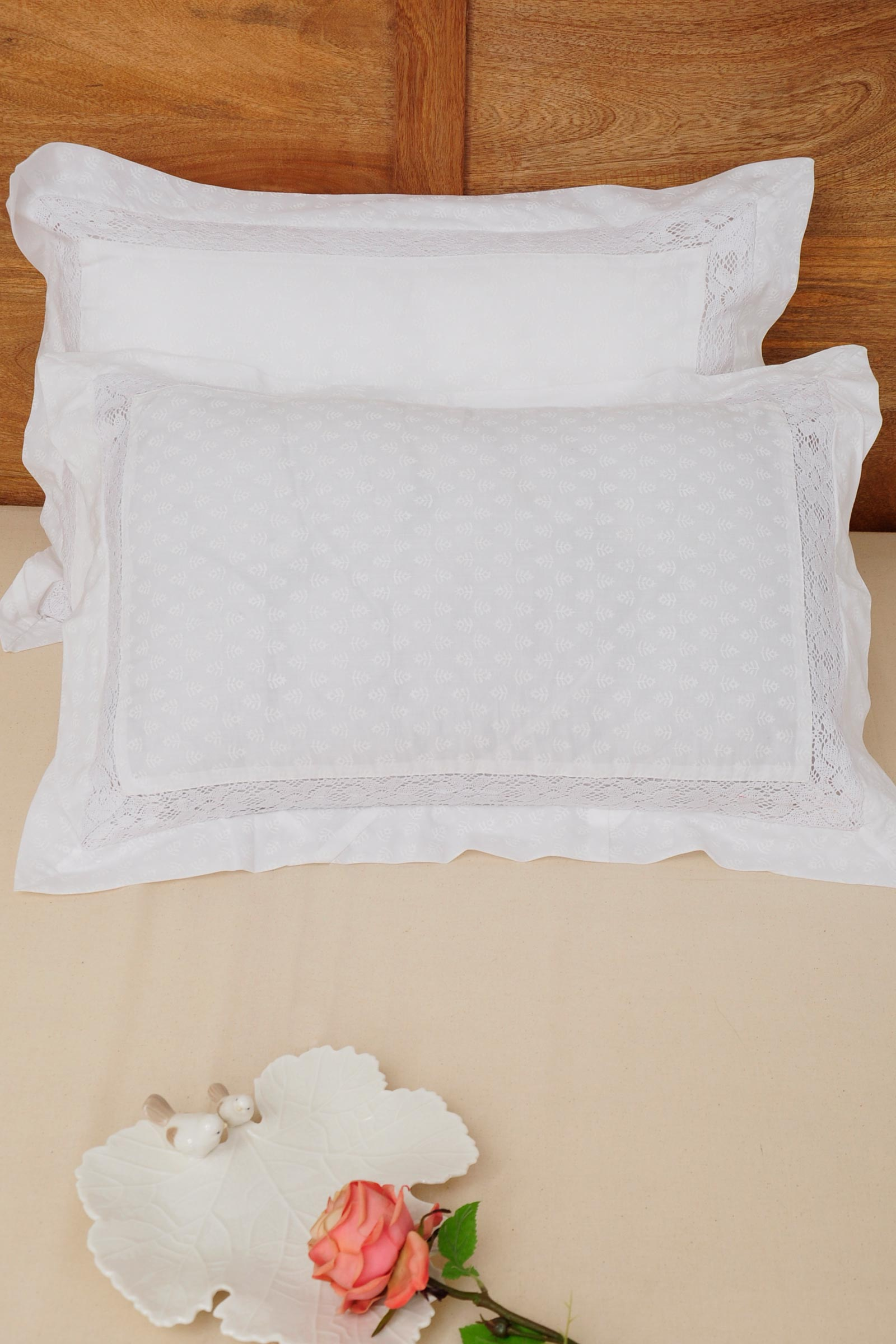 White Lace Pillow Cover Set of  2