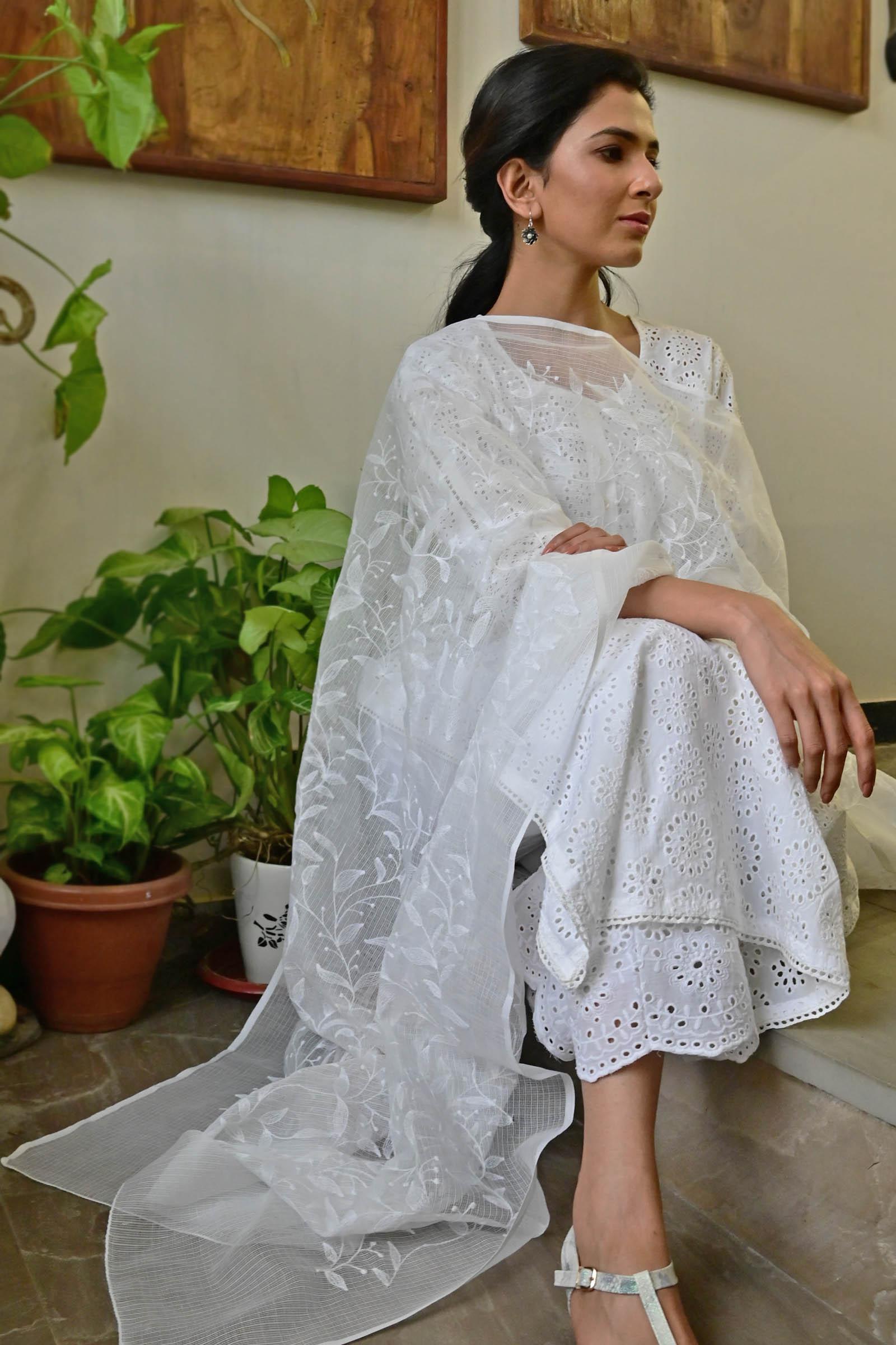 White Jasmine Kota Dupatta