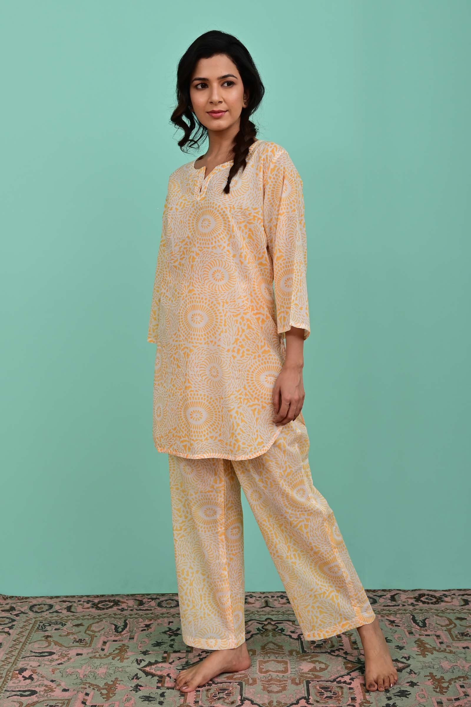 Yellow Forest Voil Night Suit