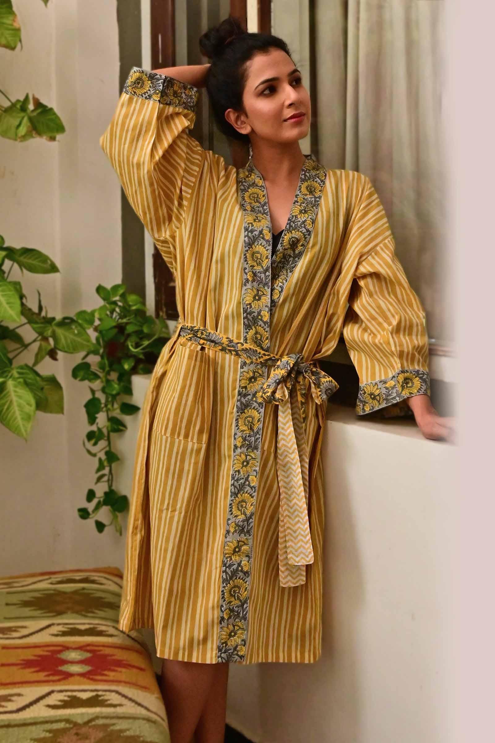Mustard Stripes Cotton Kimono Short